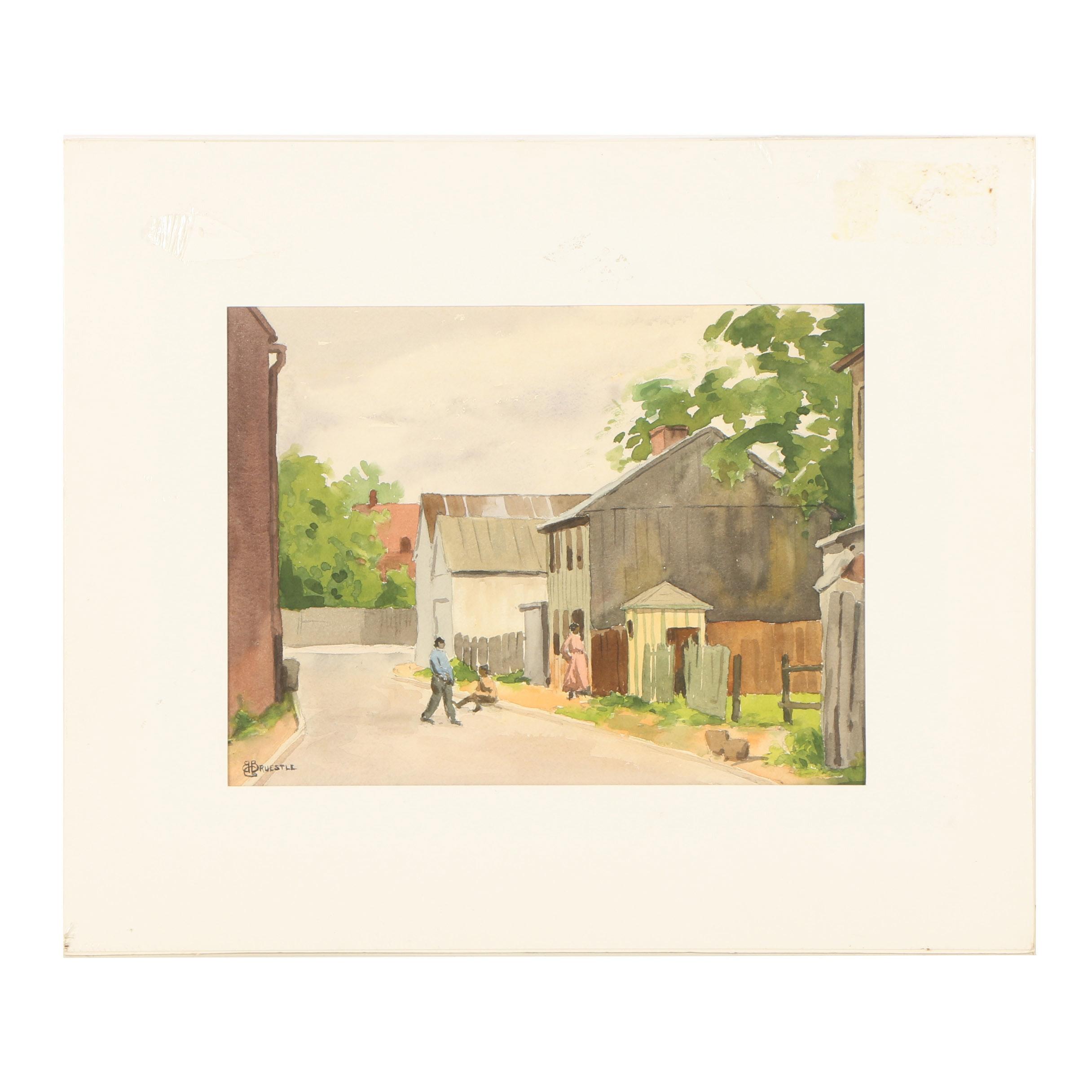 "Bertram Bruestle Watercolor Painting ""Back Street"""