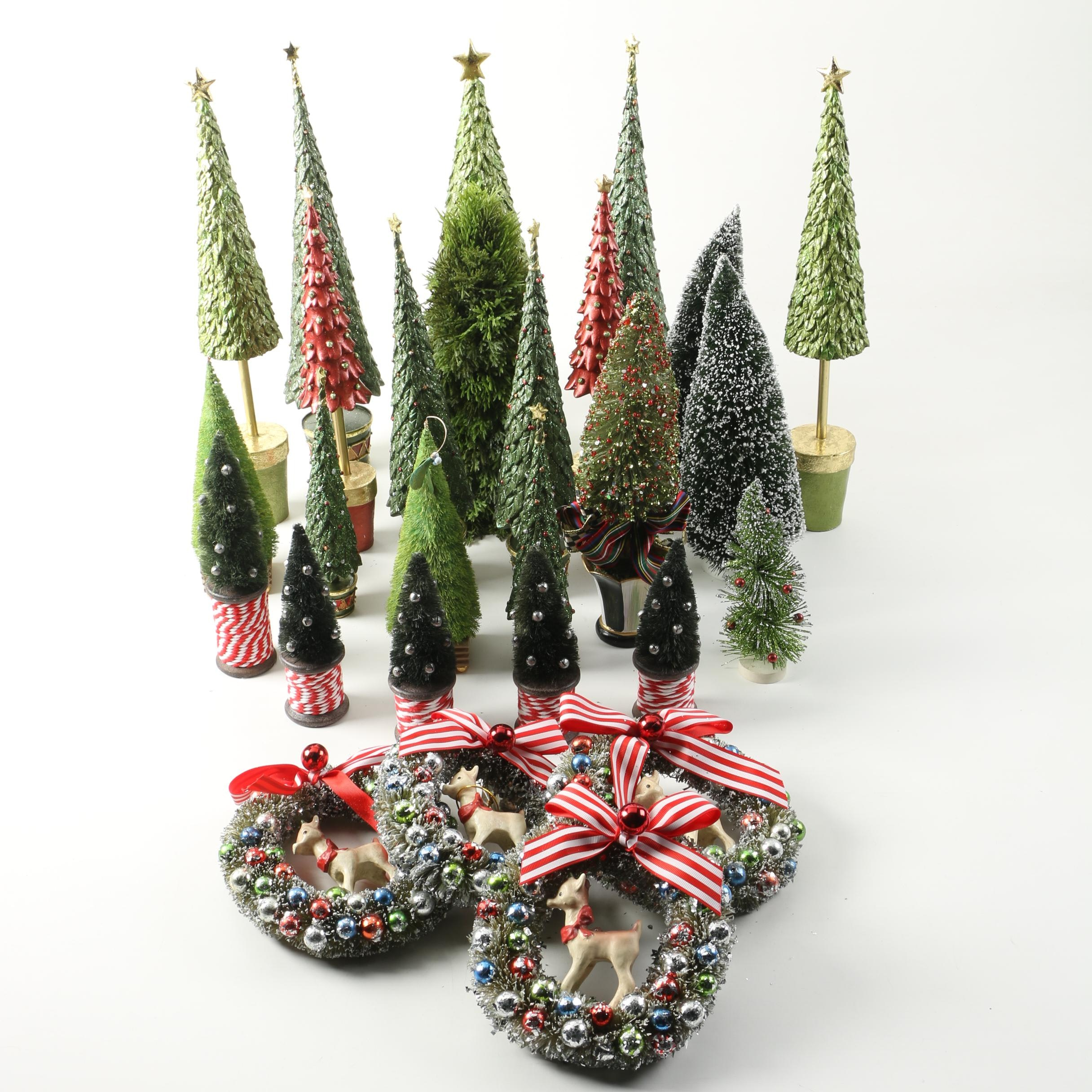 Holiday Themed Decorative Artificial Trees and Wreaths