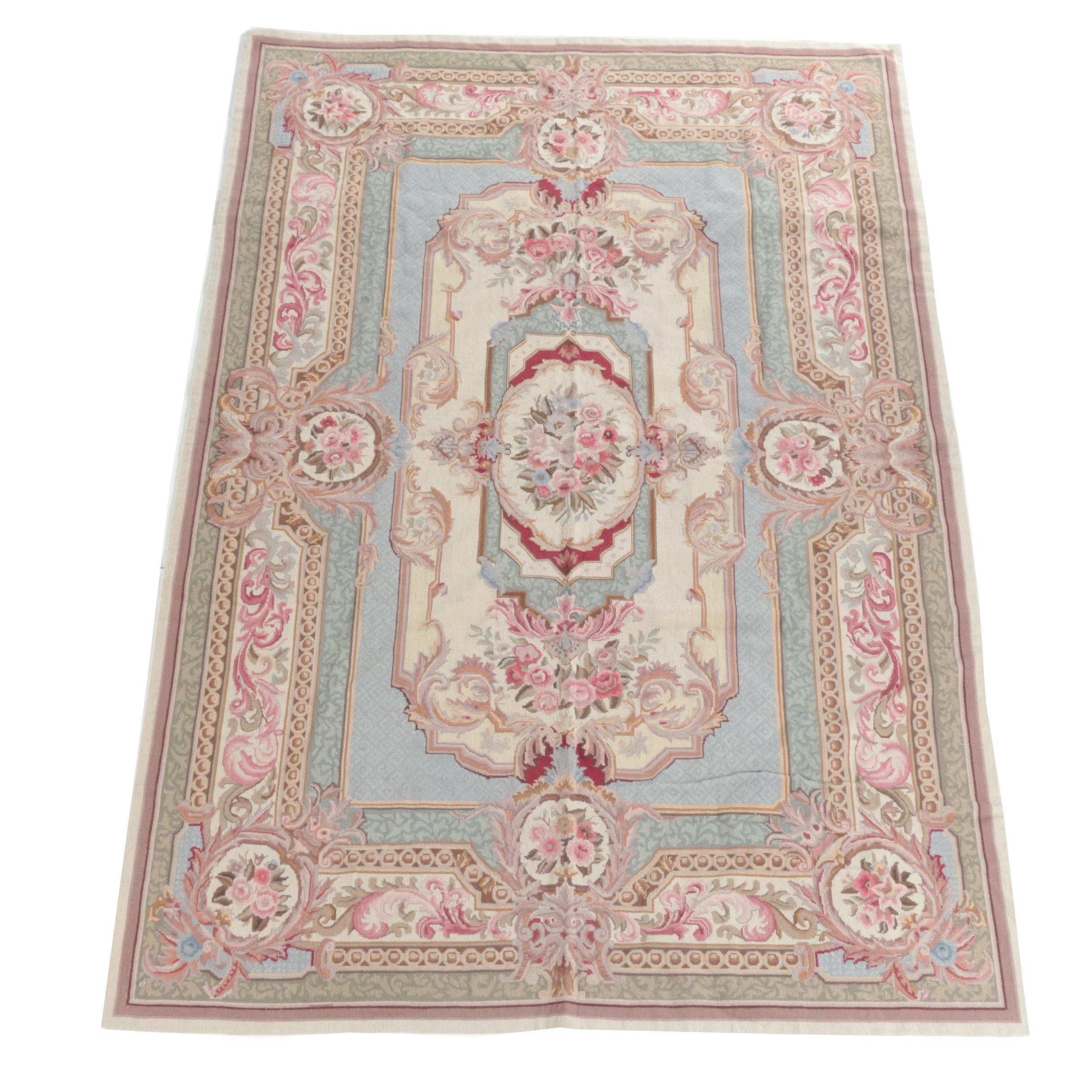 Kashmiri Needlepoint Aubusson-Style Wool Area Rug