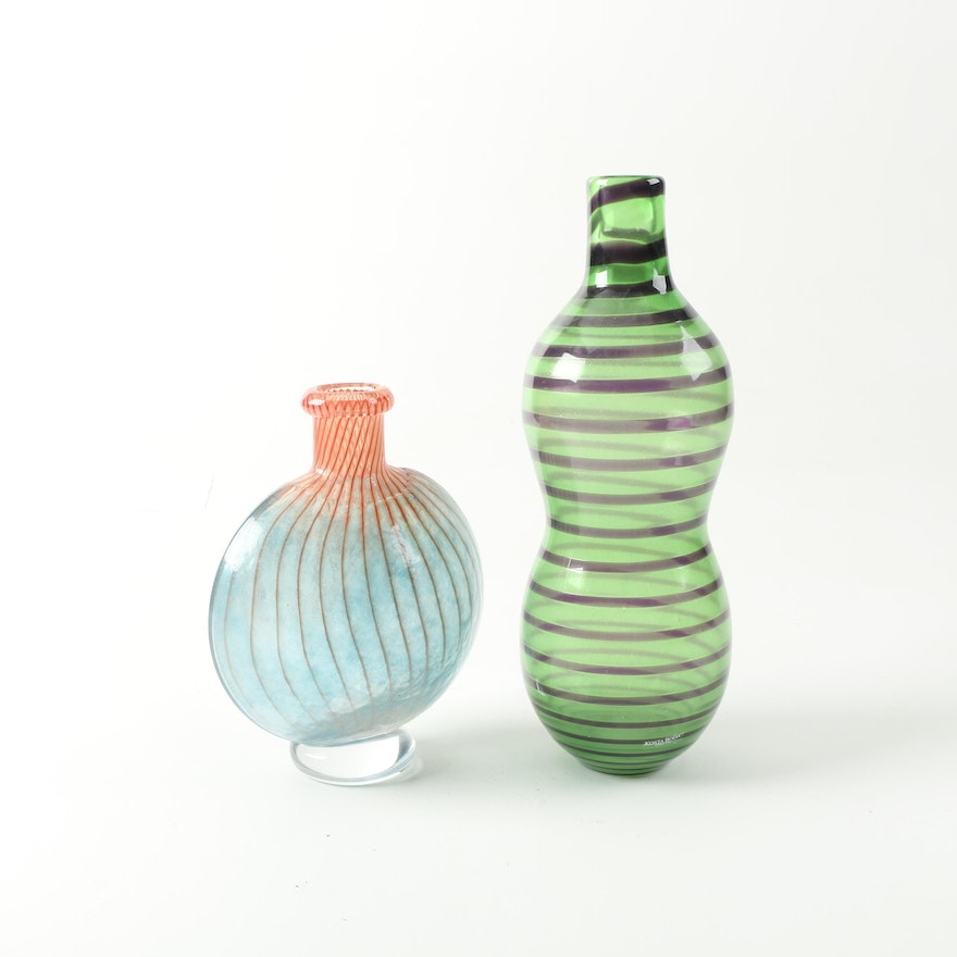 Kosta Boda Art Glass Vases Featuring Signed Bonbon By Kjell Engman