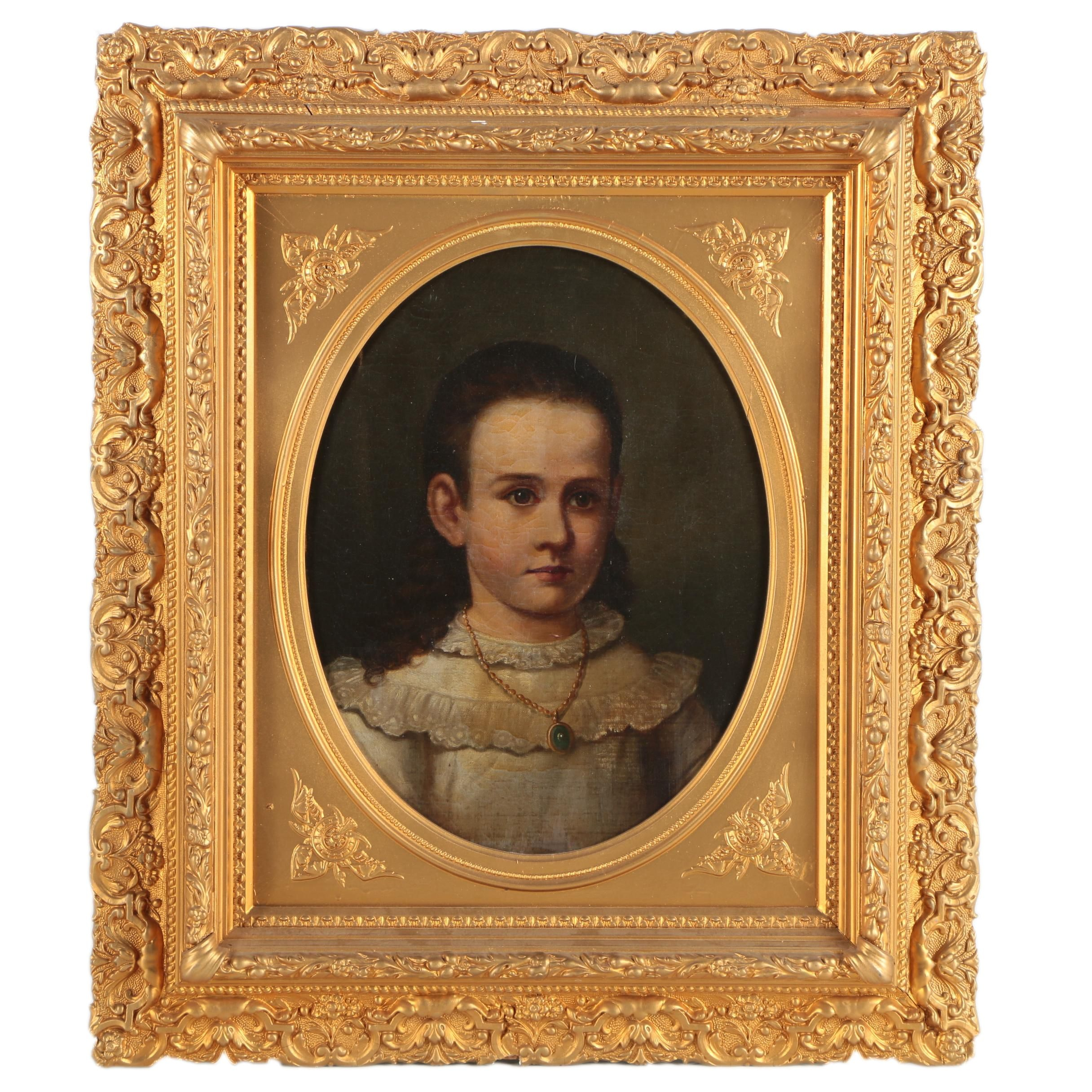Antique Oil Portrait Painting in Ornate Frame