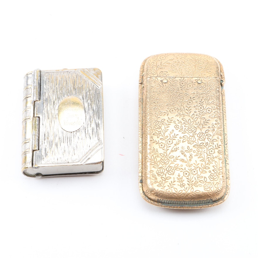 Silver Plate Snuff Box and Gold Tone Match Safe : EBTH