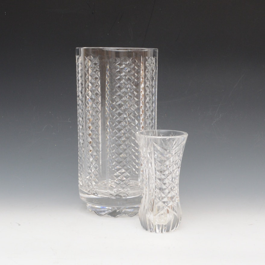Waterford Crystal Vase And Small Crystal Bud Vase Ebth