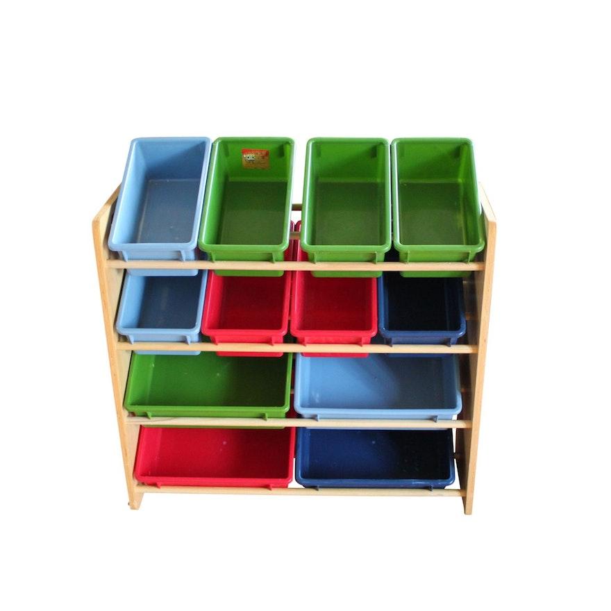 Children's Wooden Storage Rack With Plastic Bins by Battat : EBTH