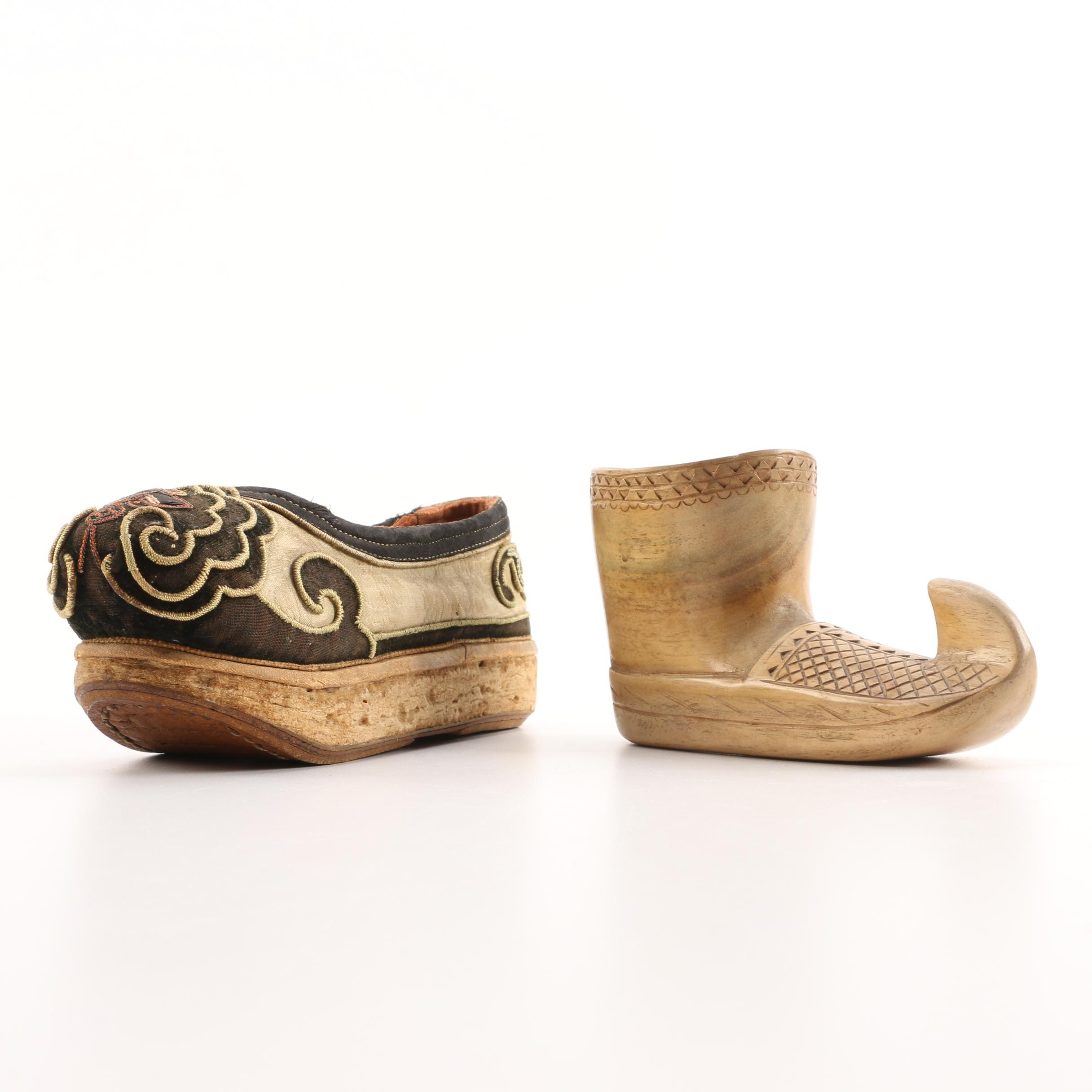 Chinese and Yugoslav Wood and Textile Shoes
