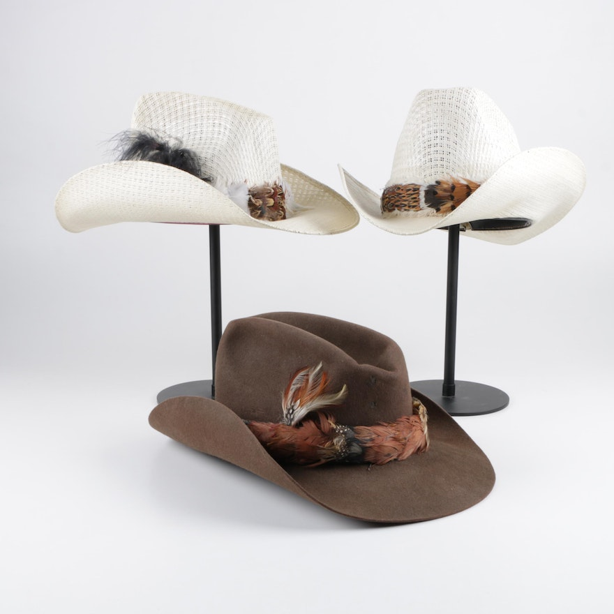 cb0c8970abc6a Vintage Feathered Cowboy Hats Including Miller Bros.   EBTH