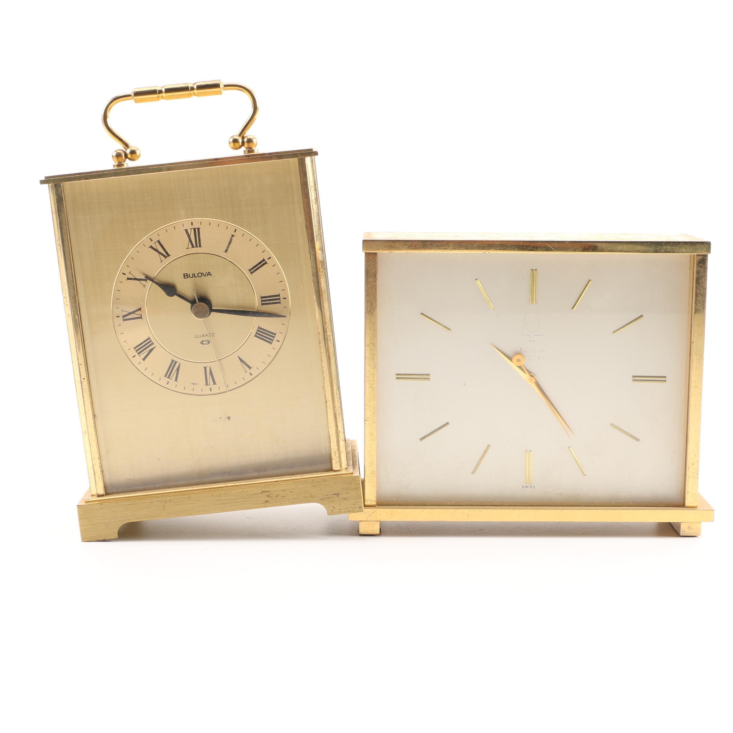 Bulova Gold Tone Shelf Clocks