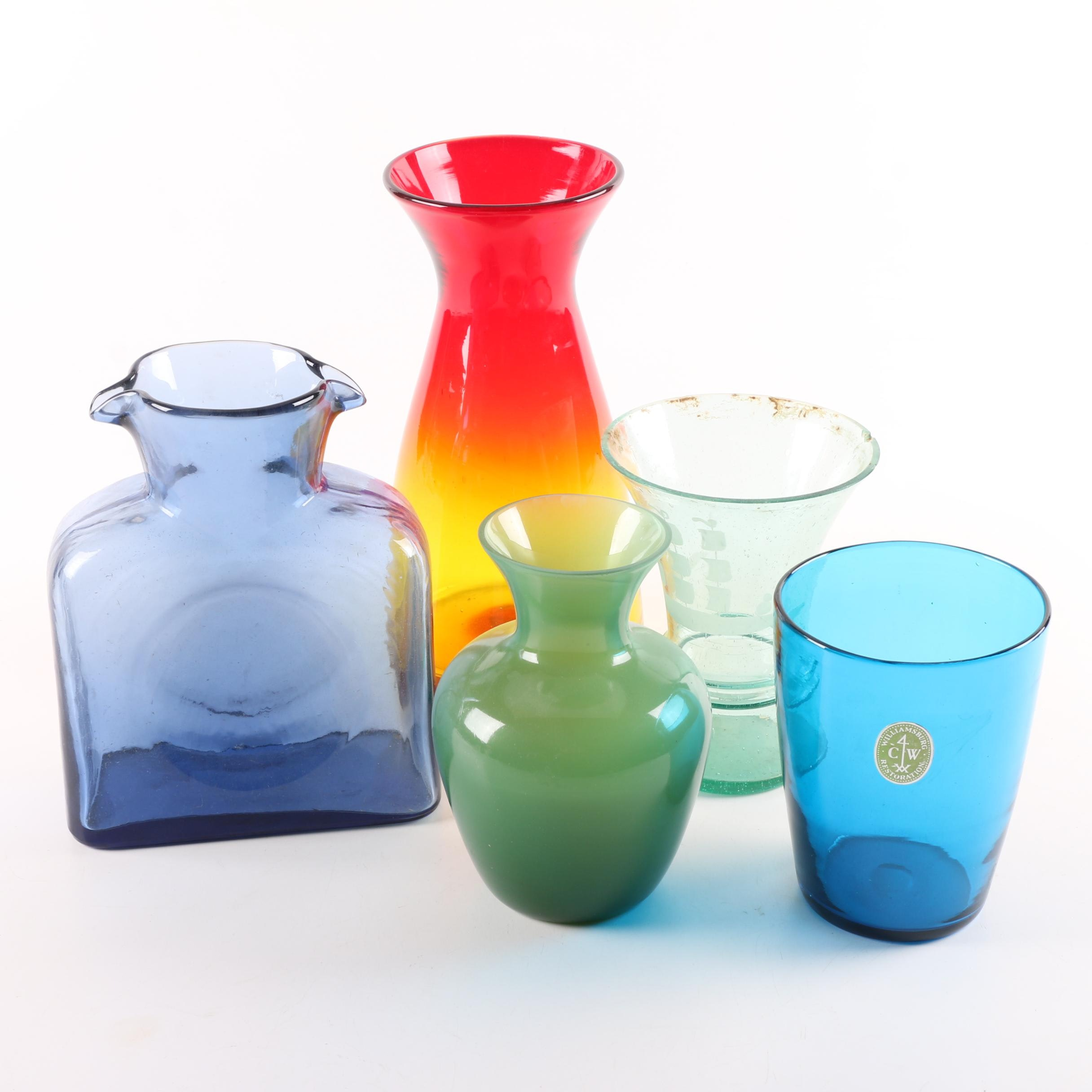 Glassware Including Blenko Double Spout Pitcher and Hand Blown Amberina Vase