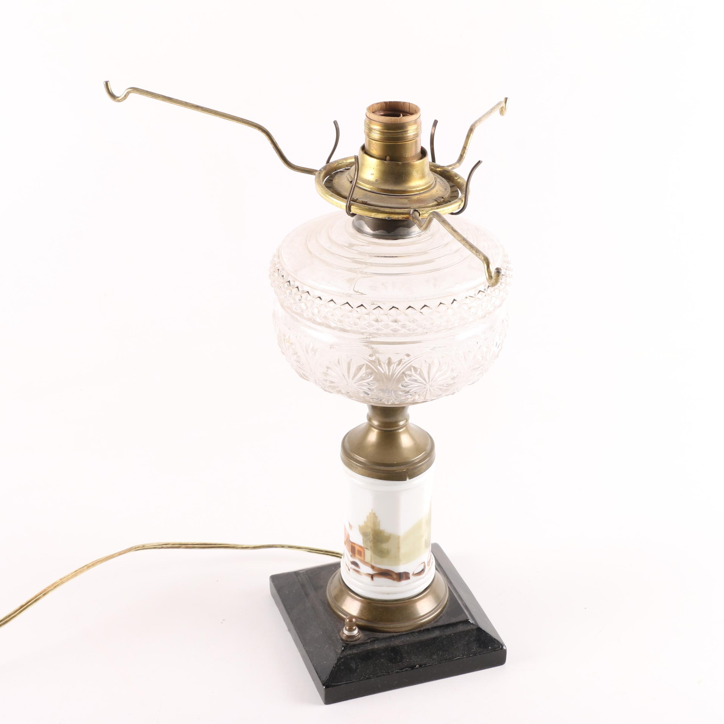 Converted Ceramic and Glass Table Lamp