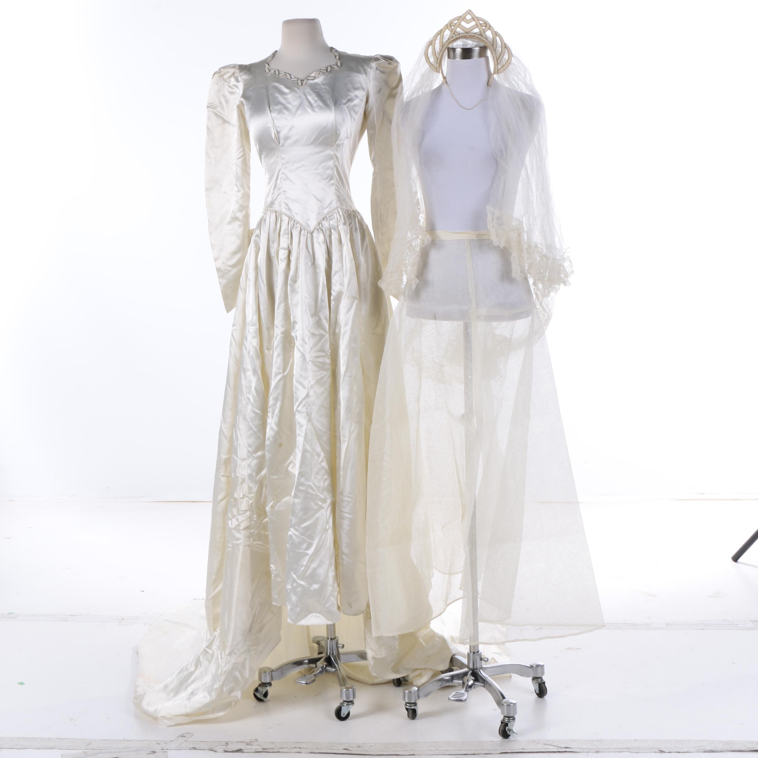 Circa 1940s Maurer Wedding Dress with Crinoline and Art Deco Style Beaded Tiara