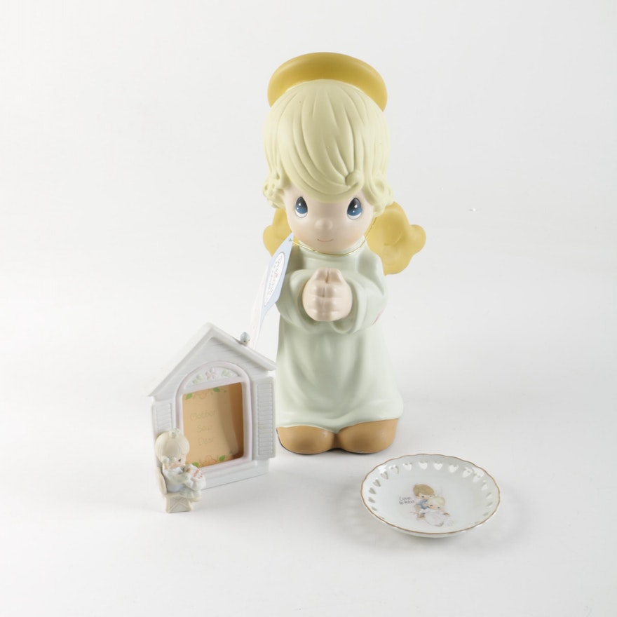 Precious Moments Photo Frame, Angel Figurine and Decorative Plate : EBTH