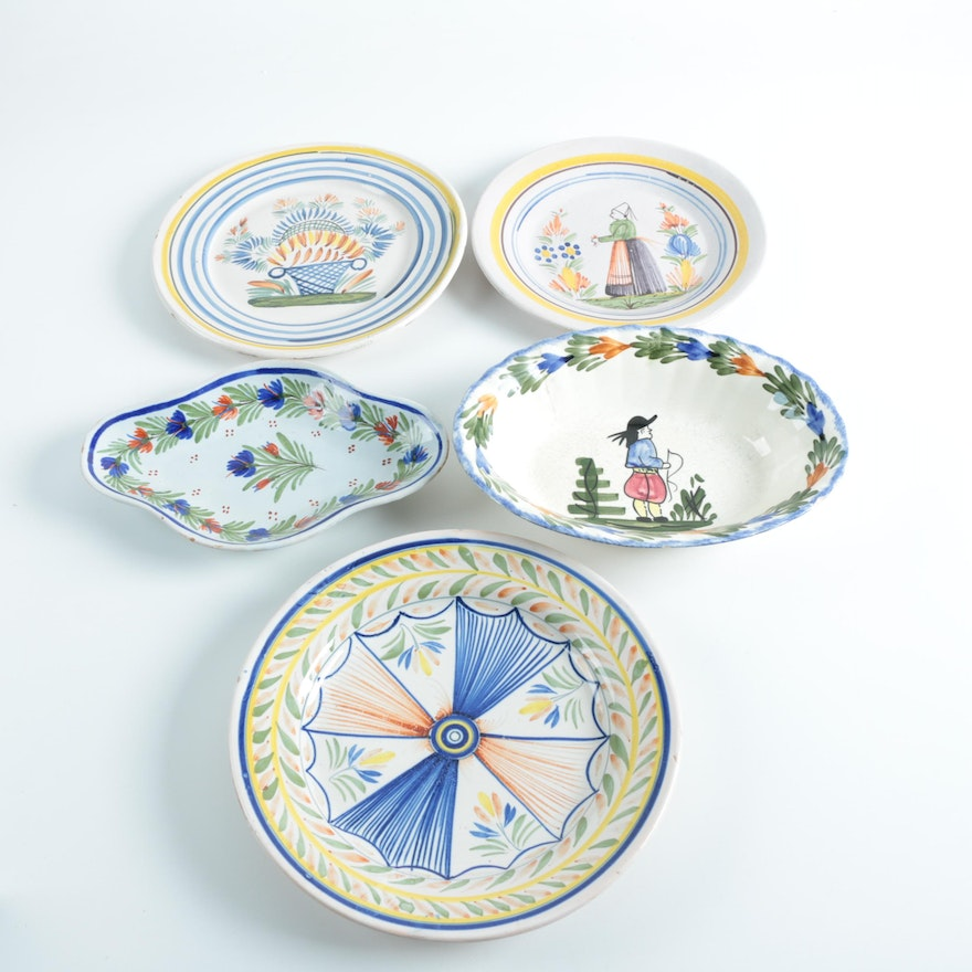 henriot quimper french faience pottery bowls and plates ebth. Black Bedroom Furniture Sets. Home Design Ideas