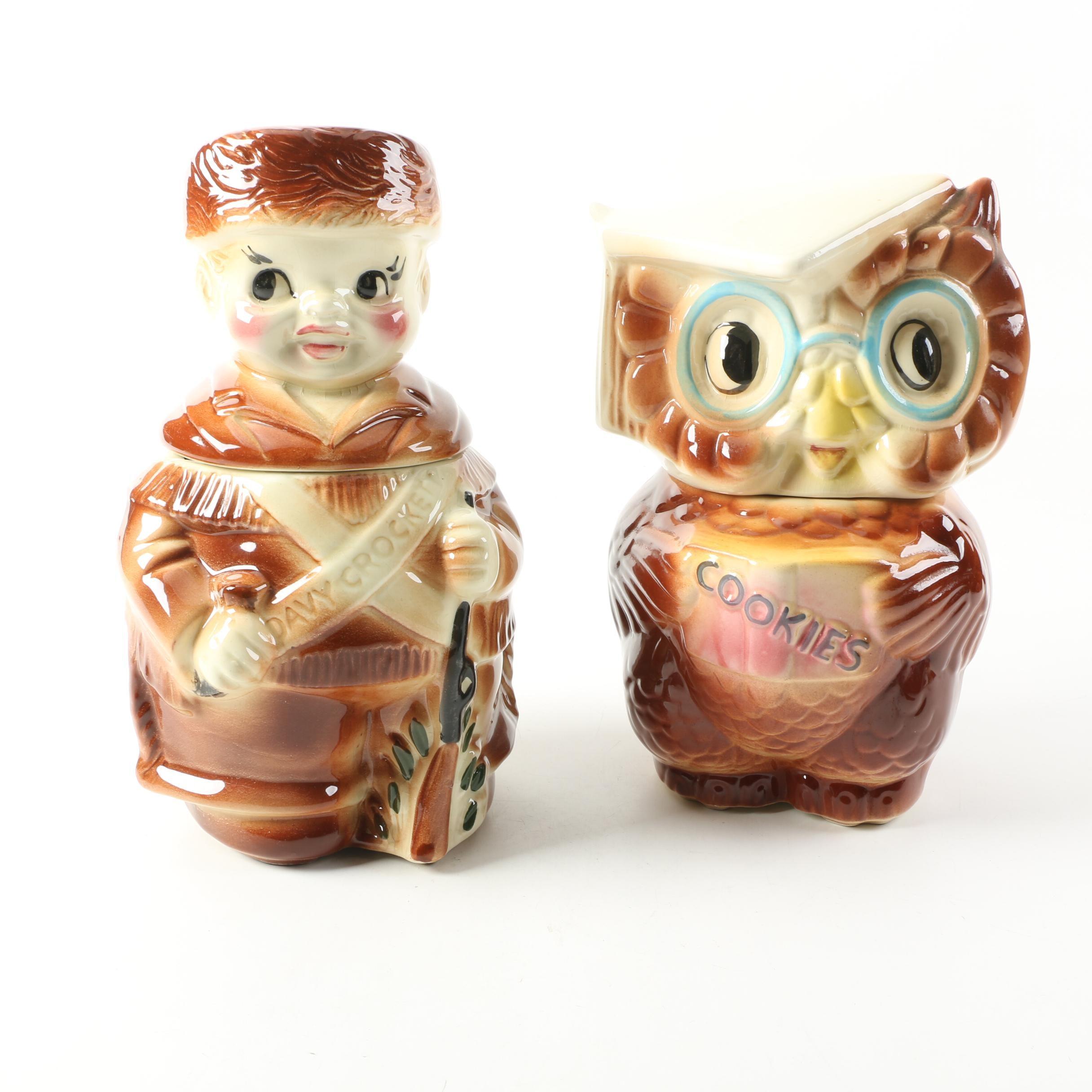 American Bisque Davy Crockett and Owl Ceramic Cookie Jars