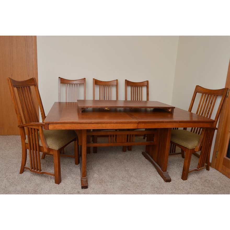 Mission Style Oak Dining Table With Six Chairs EBTH - Mission style oak dining table and chairs