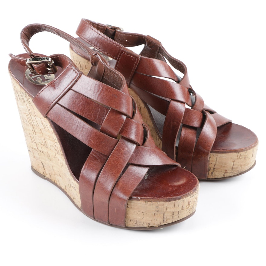 ded63d942c7c Tory Burch Brown Leather and Cork Wedge Sandals   EBTH