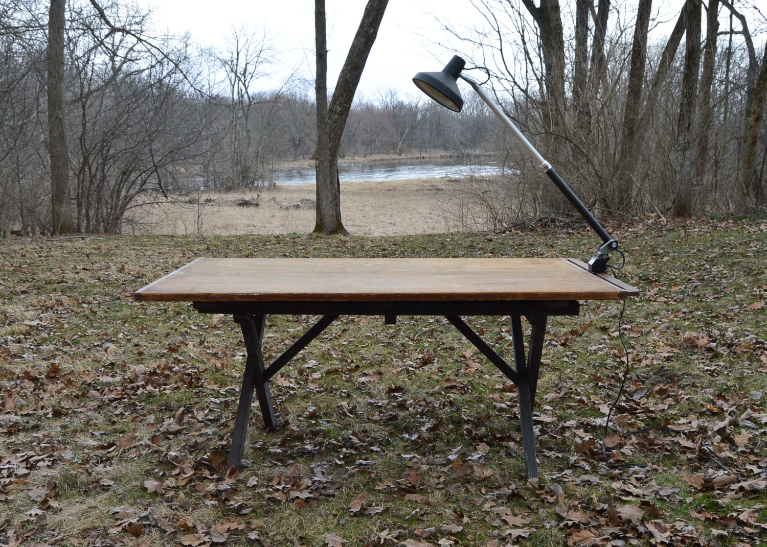 Workshop Tabletop With Picnic Table Base And Swing Arm Light