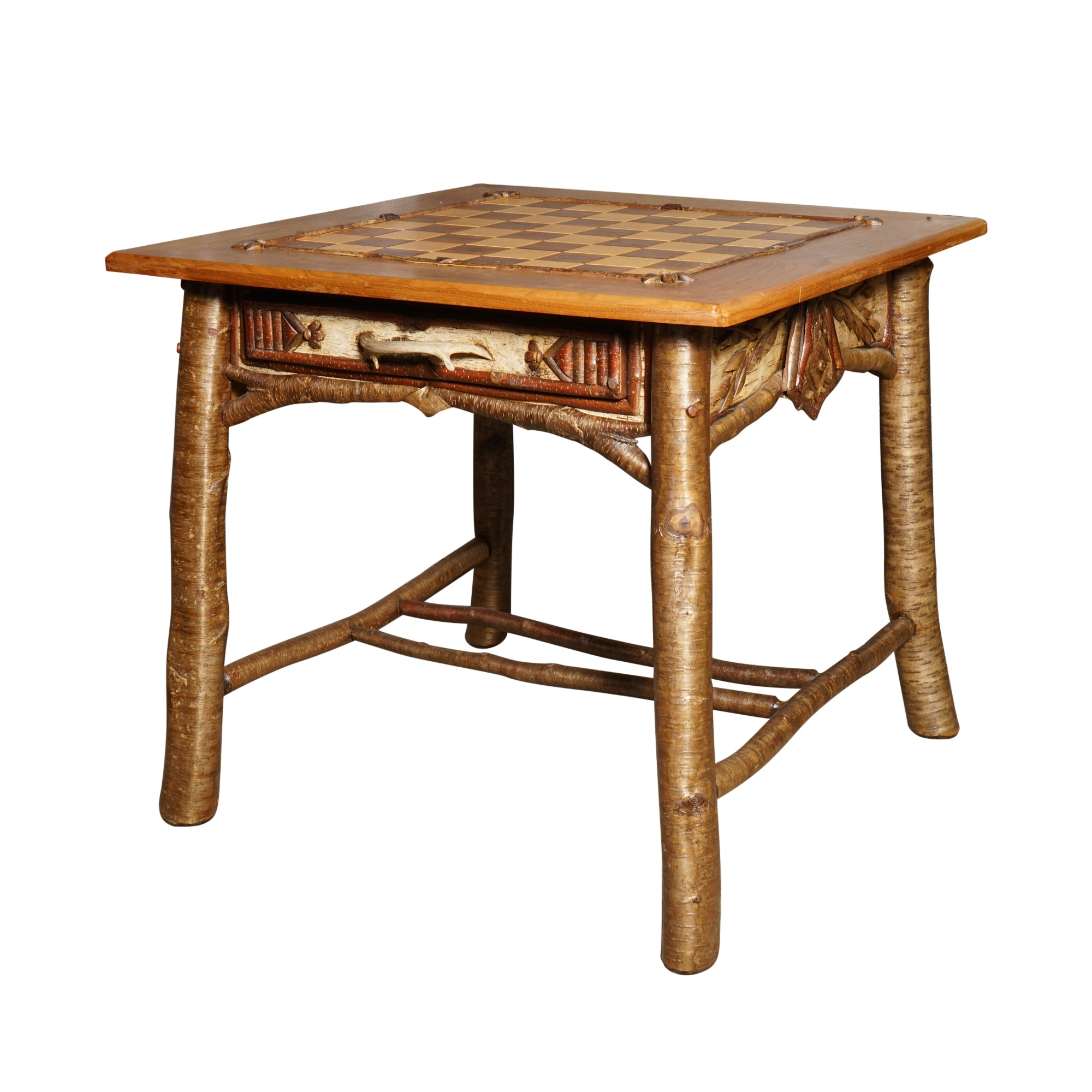 Rustic Game Table With Carved Game Pieces ...