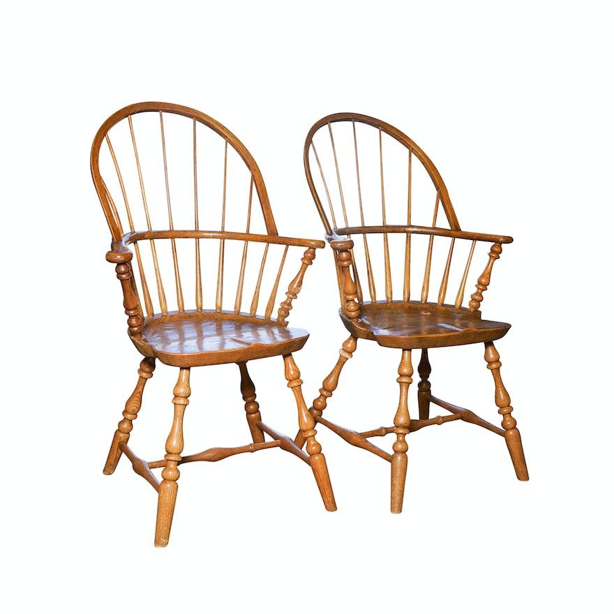 vintage oak windsor style chairs ebth