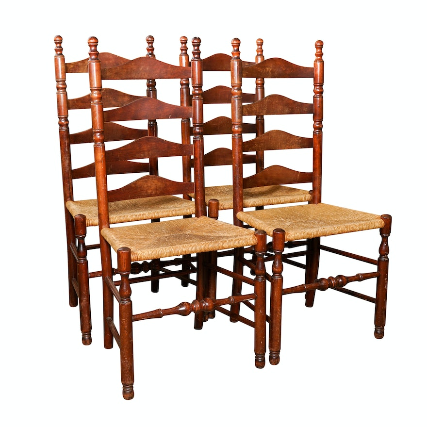 Vintage Ladderback Chairs with Rush Seats