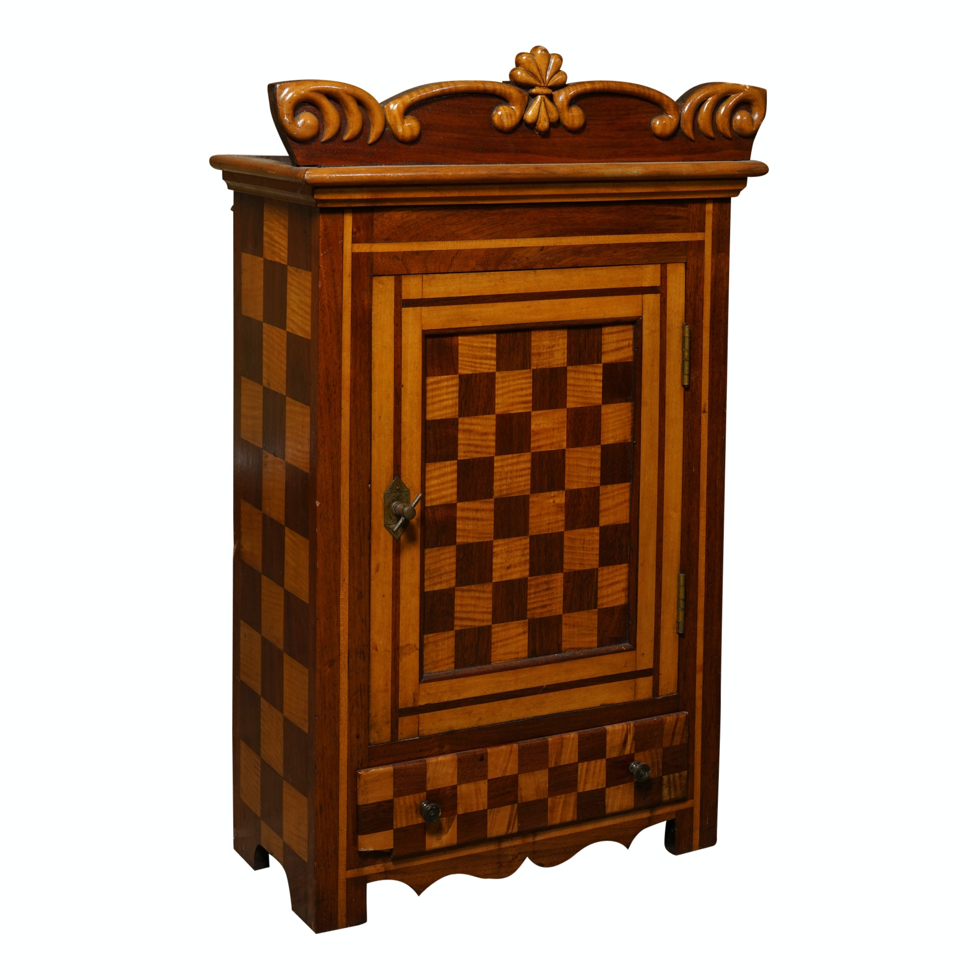 Vintage Checkerboard Inlay Wall Cabinet ...