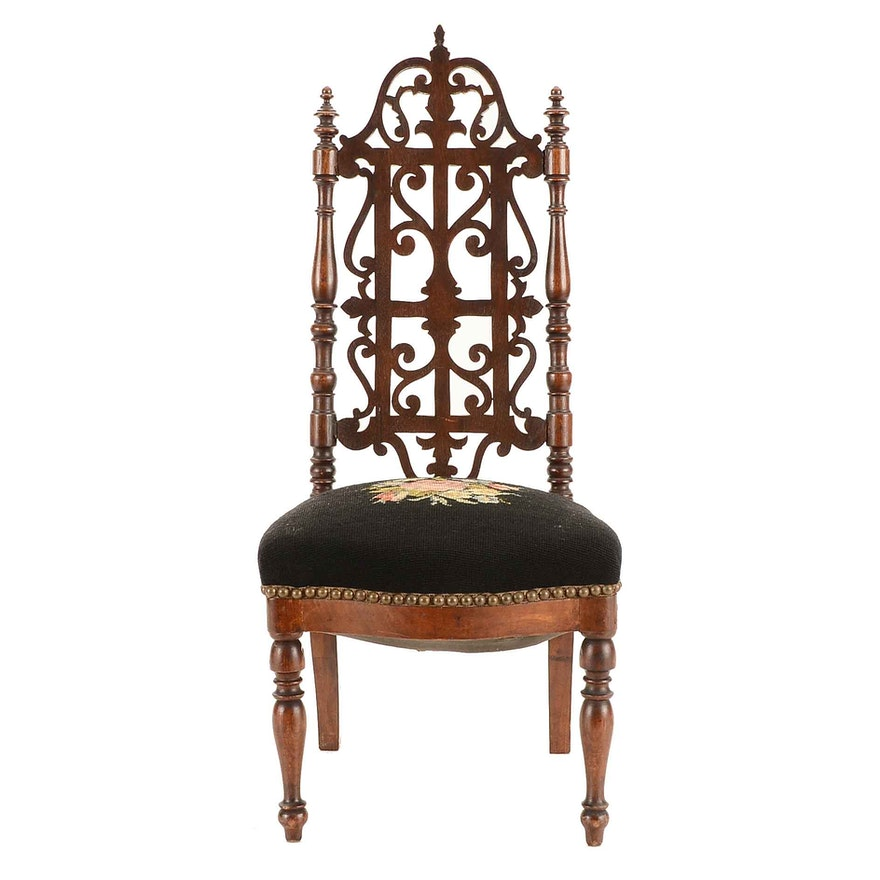 - Antique Early Victorian American Gothic Revival Walnut Child's Chair