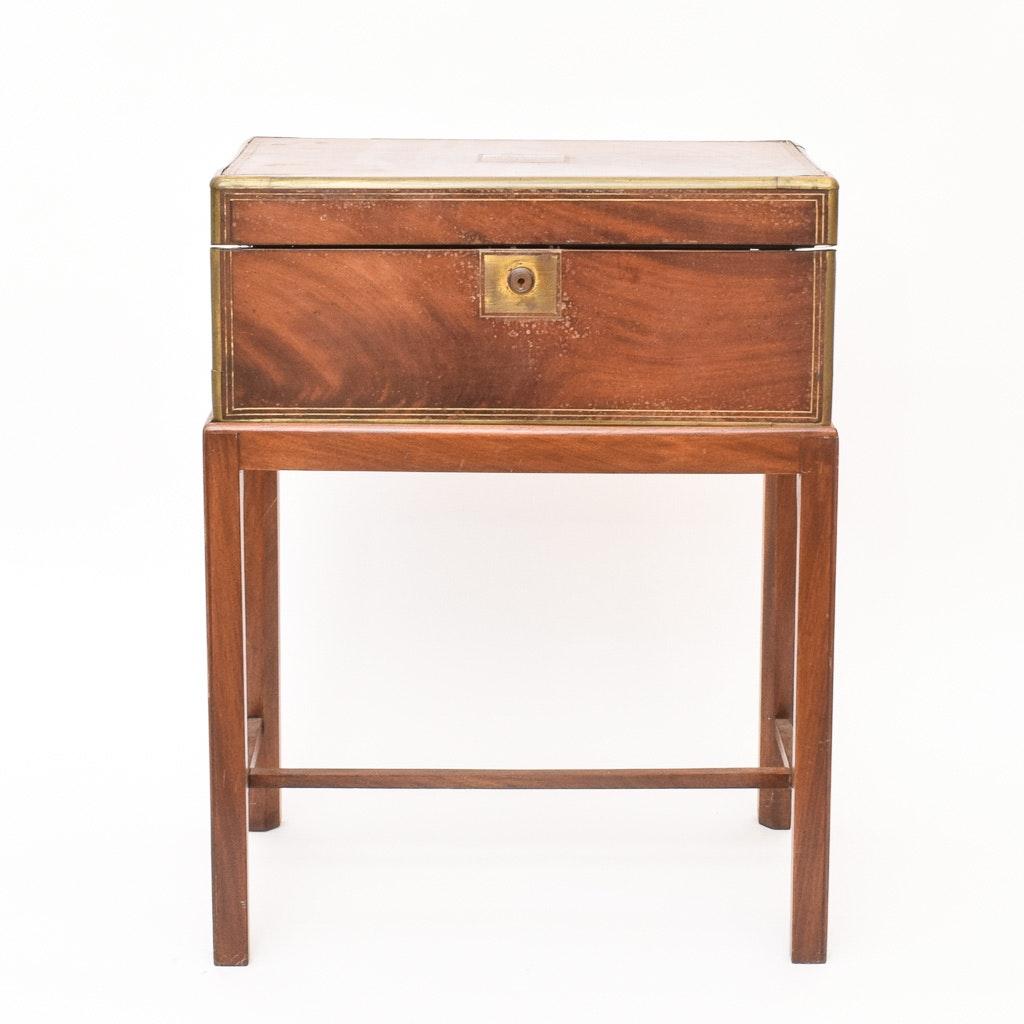 19th-Century English Mahogany Lap Desk on Stand