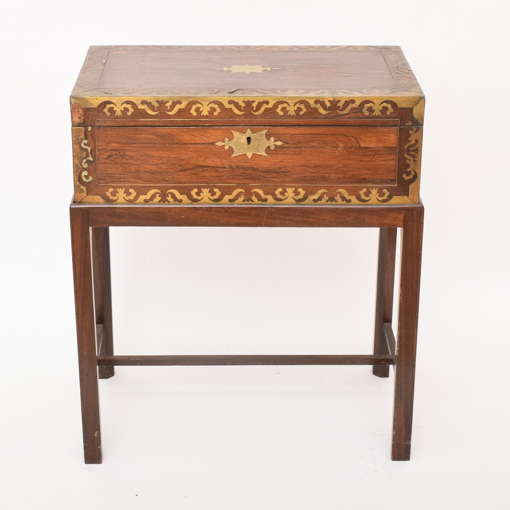 Antique Rosewood and Brass Lap Desk on Stand, Circa 1860