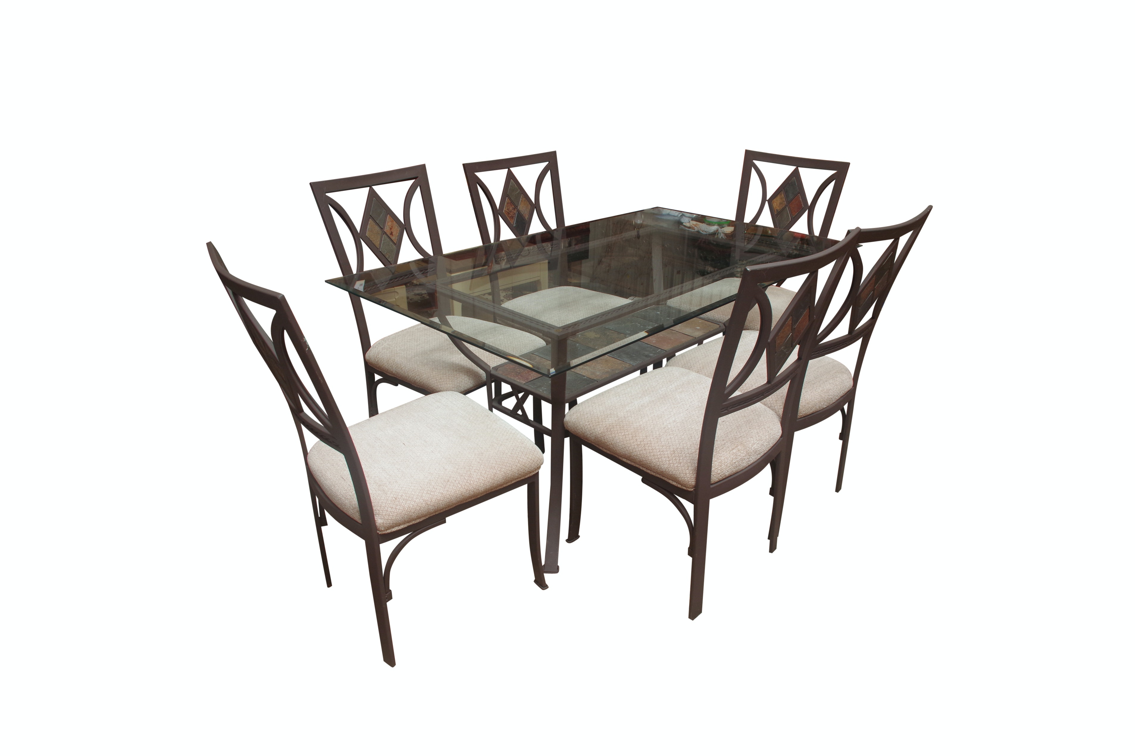 Metal and Glass Top Dining Table with Six Chairs