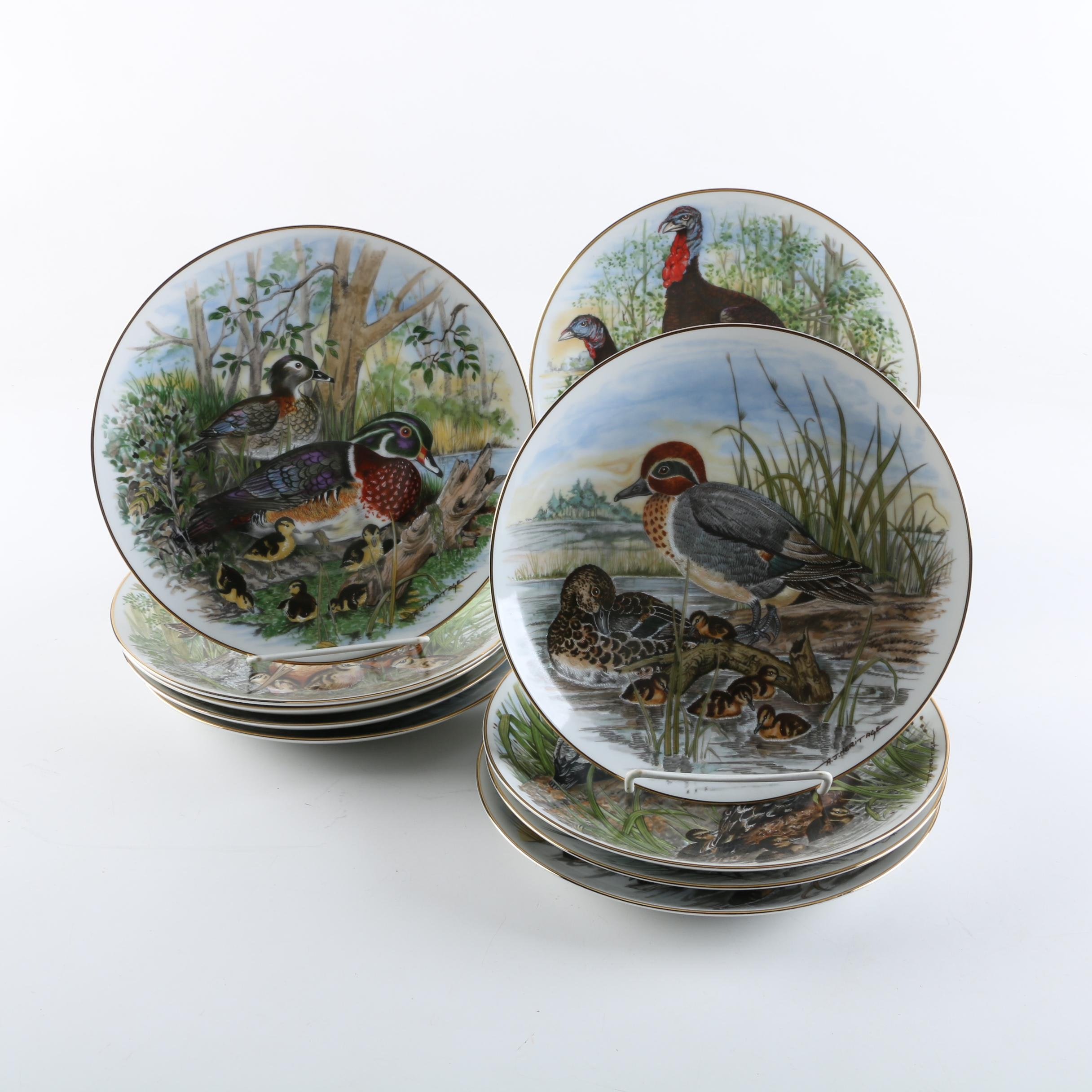 """Southern Living Gallery """"Game Birds of the South"""" Porcelain Collector Plates"""