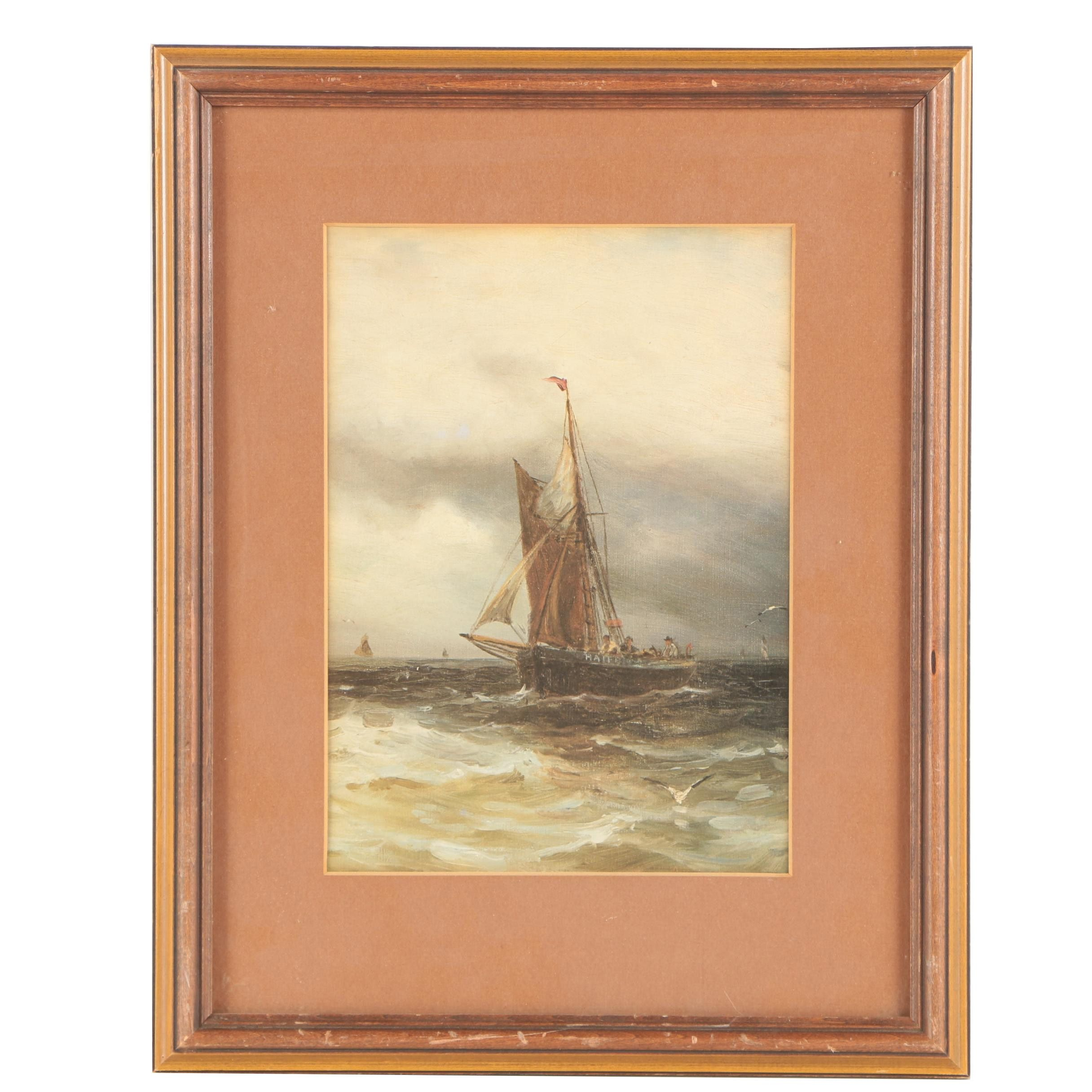 Offset Lithograph of a Sailboat