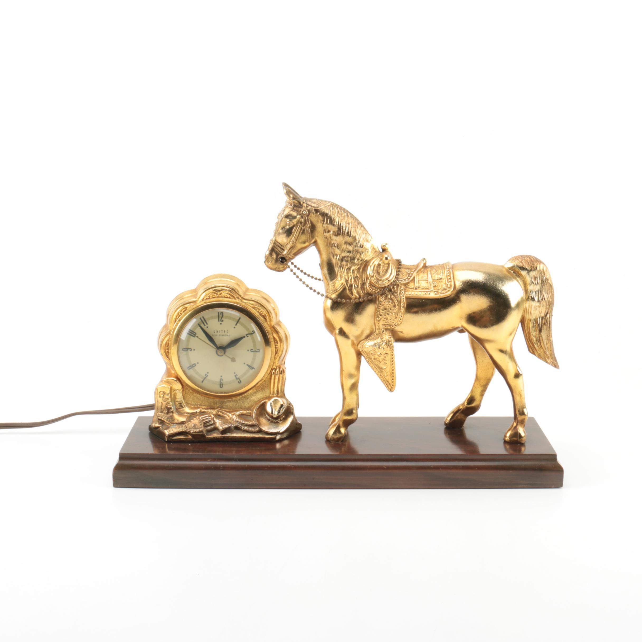 Vintage United Self Starting Figural Mantel Clock