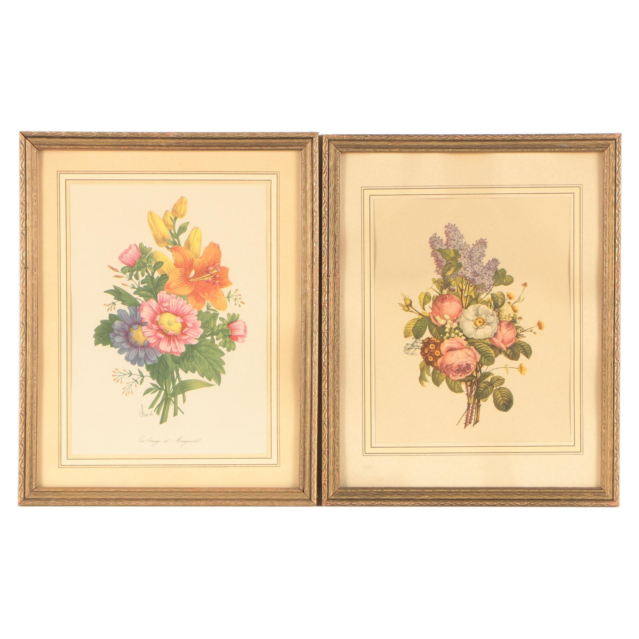 Offset Lithographs of Floral Bouquets