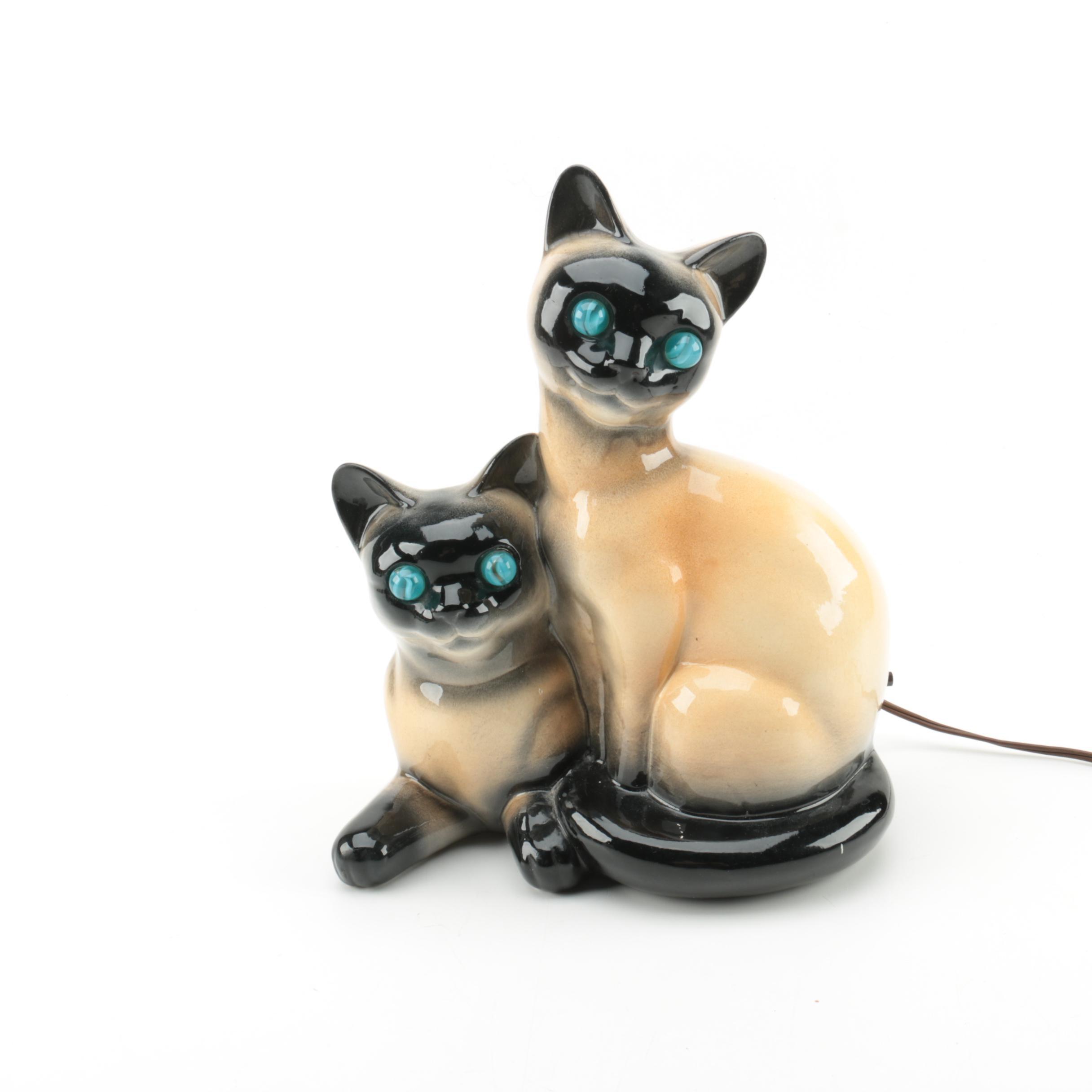 Vintage Siamese Cat Ceramic TV Lamp