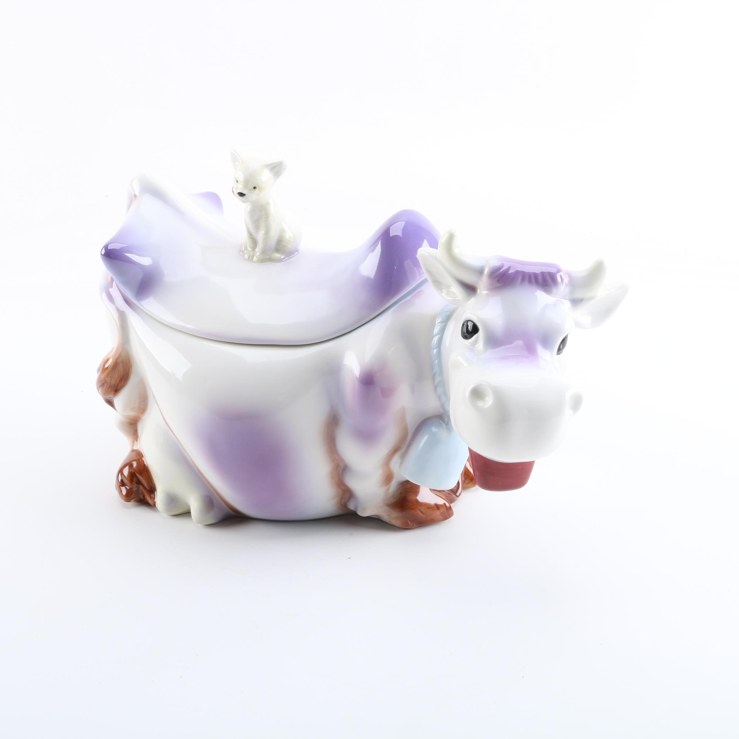 American Retro Cow Cookie Jar with Cat Finial