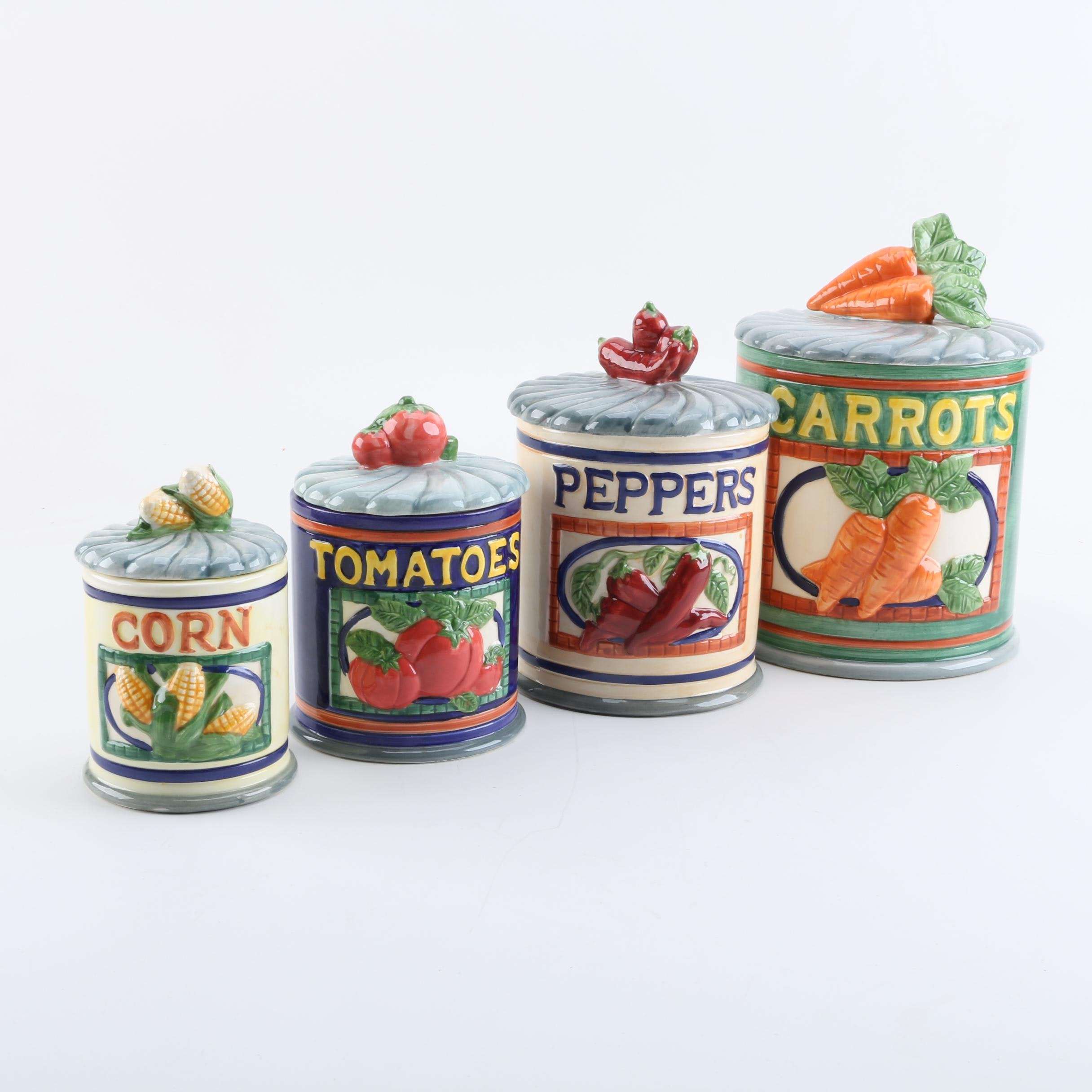 Colorful Ceramic Lidded Kitchen Canisters
