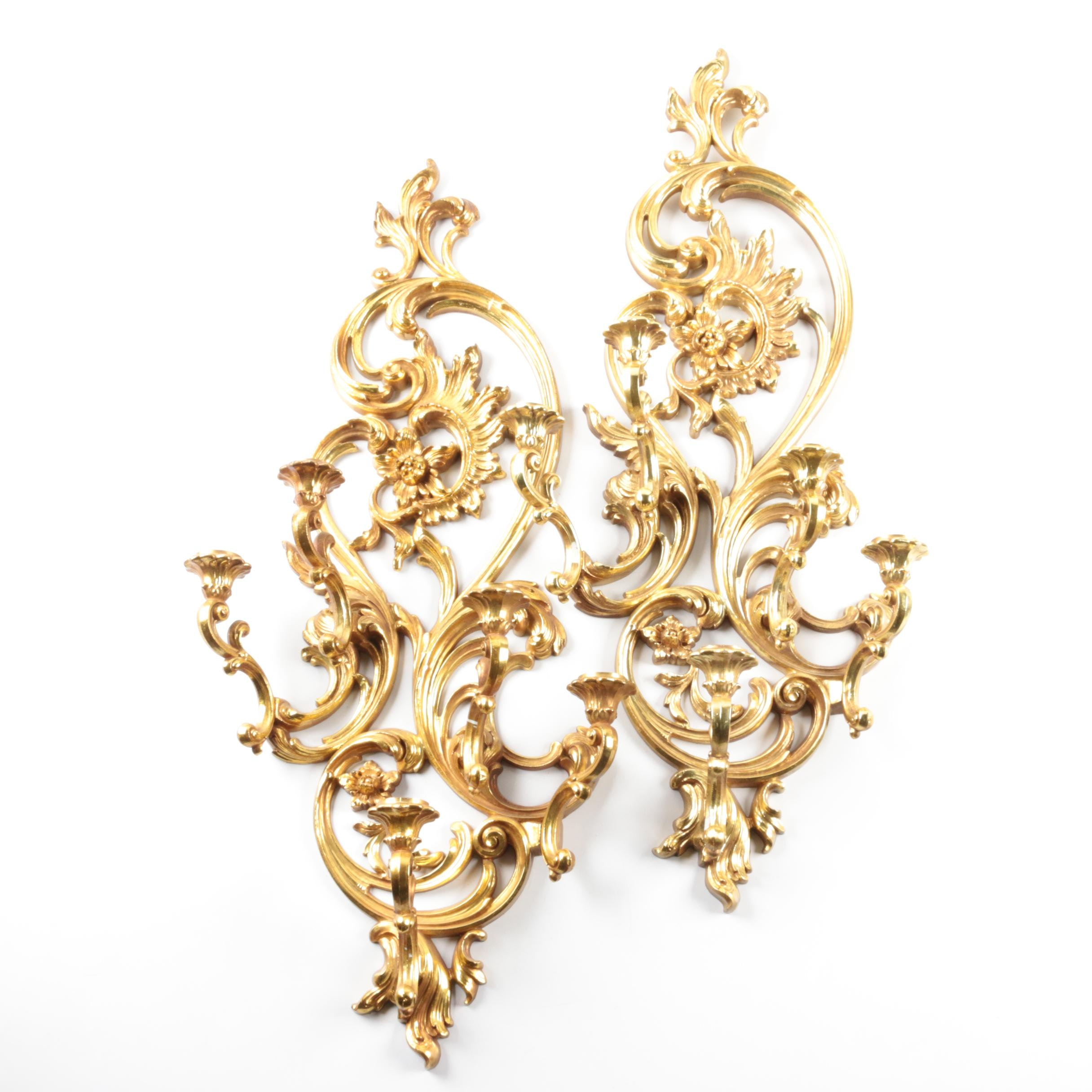 Vintage Rococo Style Candle Sconces by Syroco Inc.
