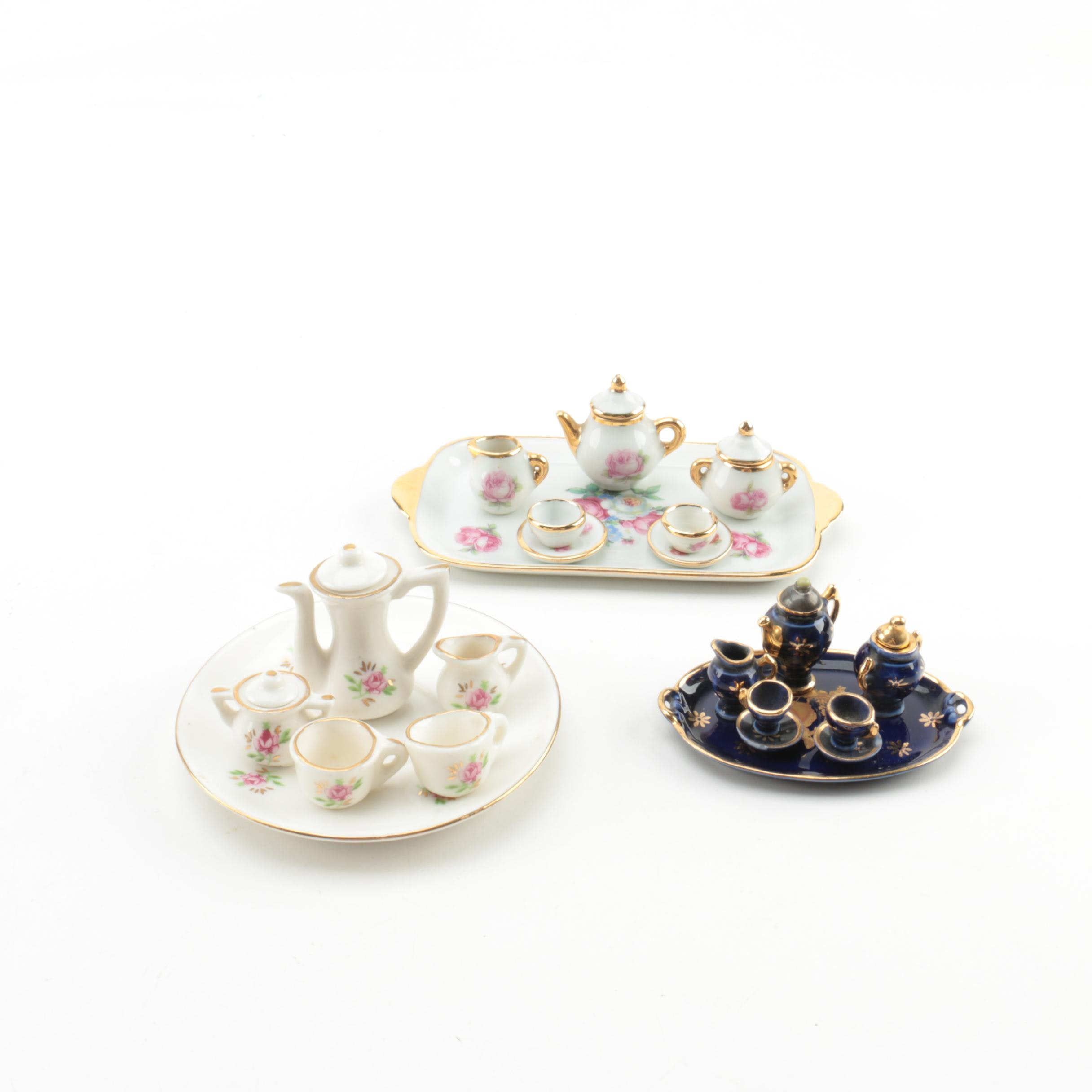 Miniature Limoges Porcelain Tea Sets With Platters ...