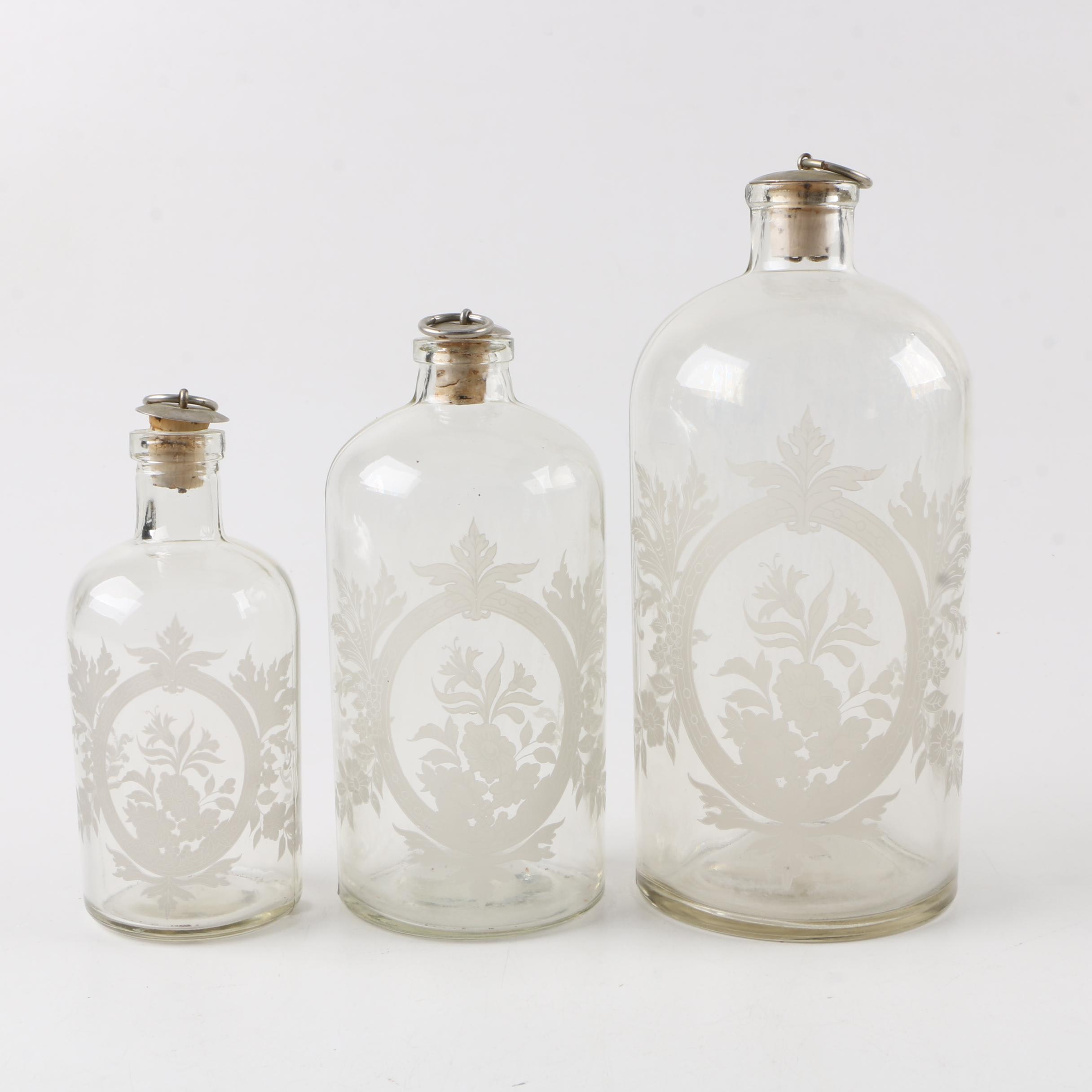 Vintage Etched Glass Apothecary Style Bottles and Cork Stoppers