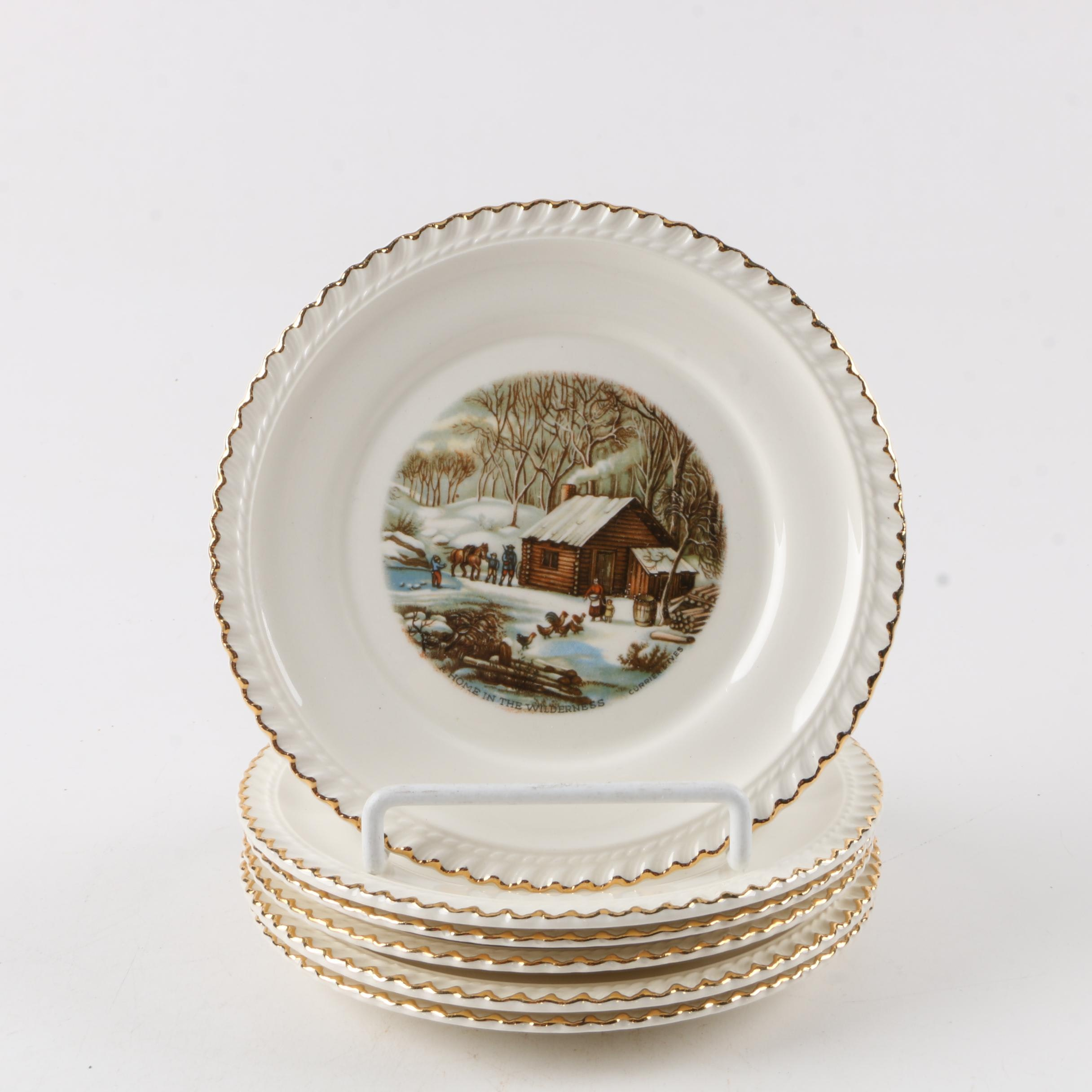 "Harkerware ""Currier and Ives"" Bread and Butter Plates"
