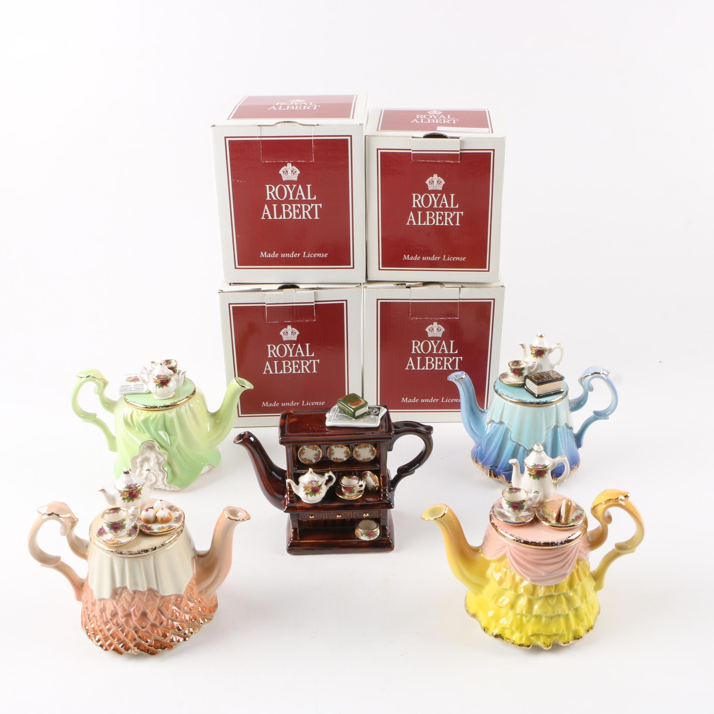 "Royal Albert ""Old Country Roses"" Miniature Teapots"