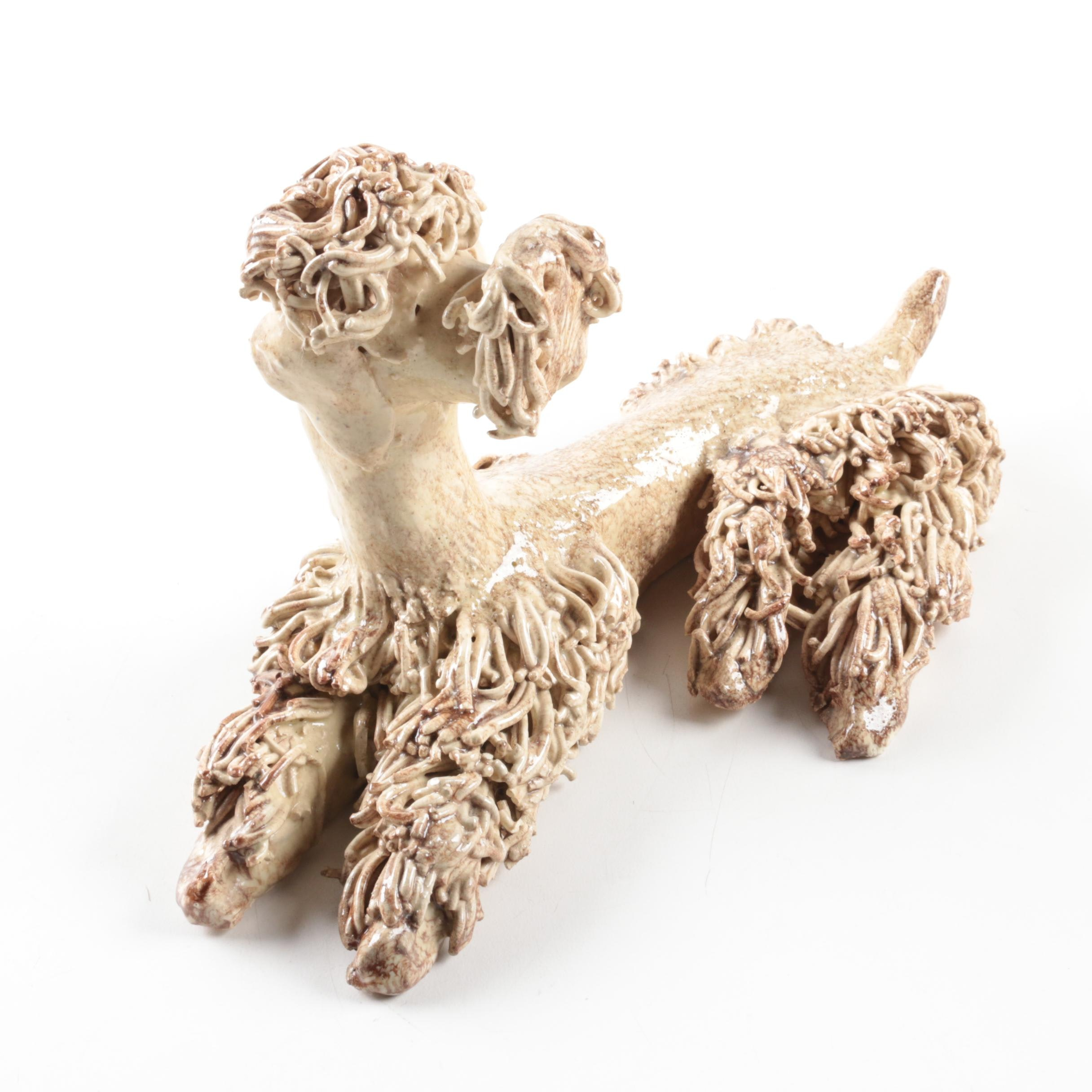 Glazed Ceramic Shaggy Dog Figurine