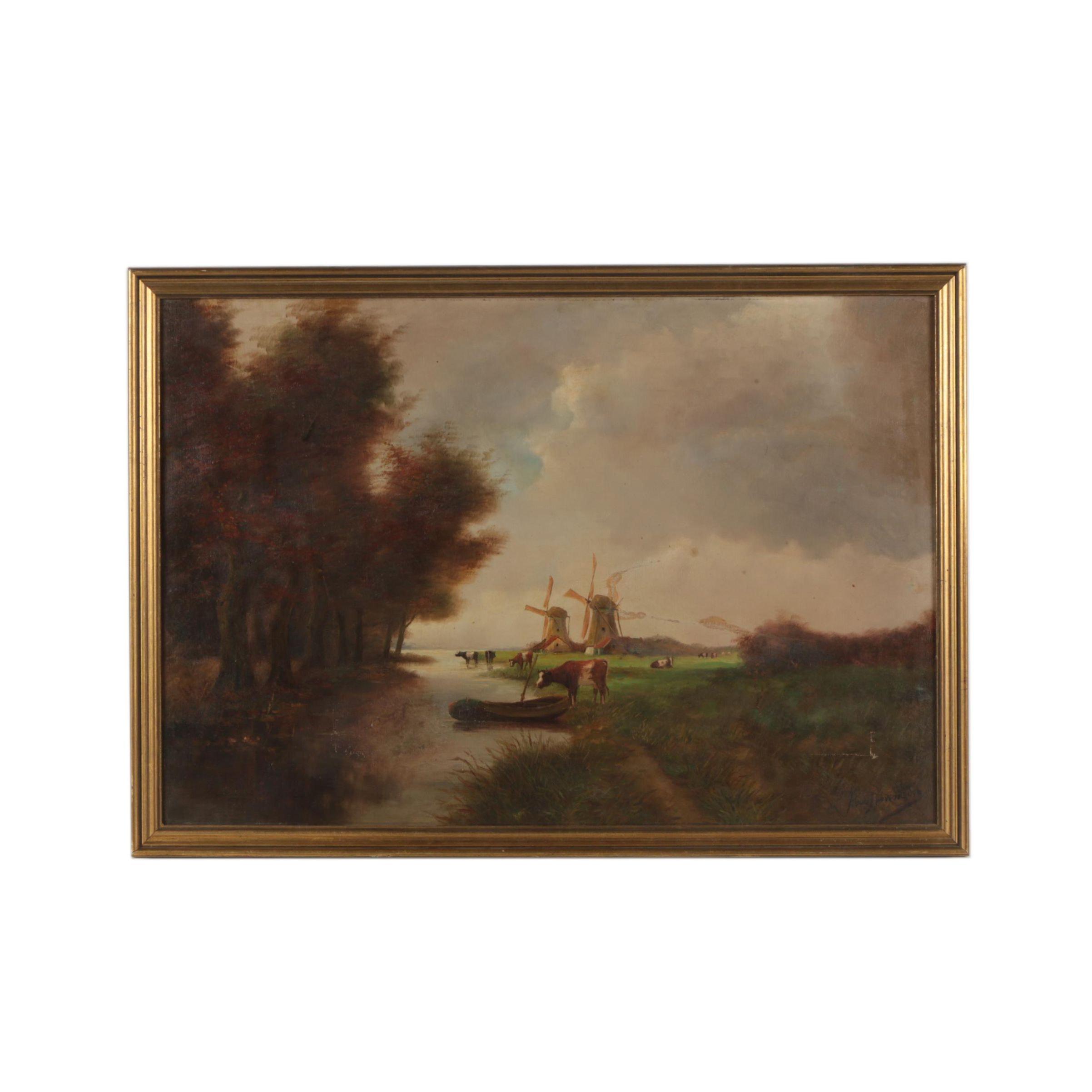 Oil Painting of a Dutch Landscape