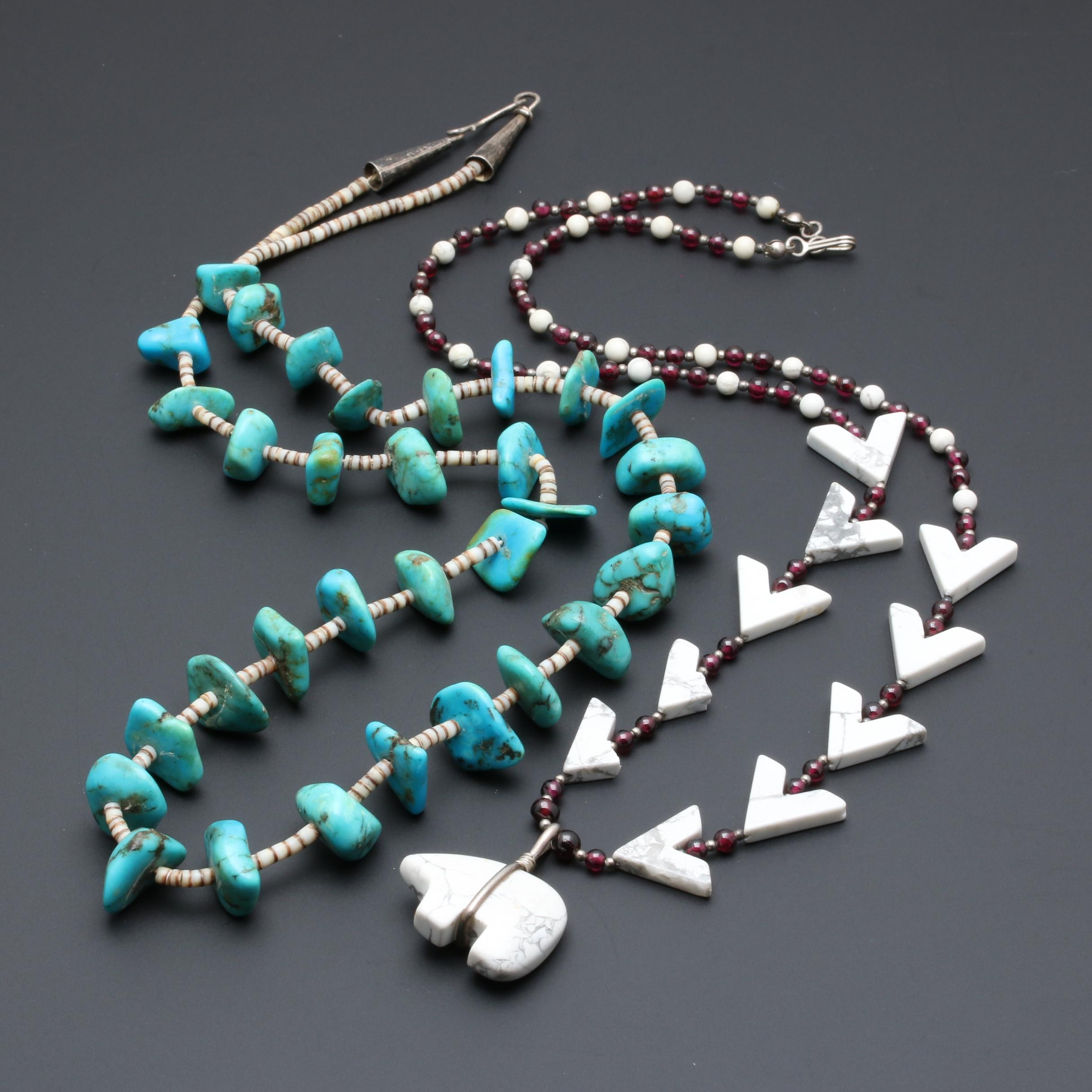 Sterling Silver Southwestern Style Necklaces Including Turquoise