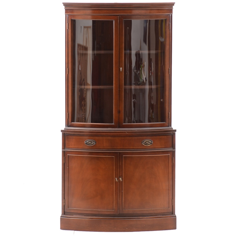 Hepplewhite Style Corner China Cabinet By Bassett