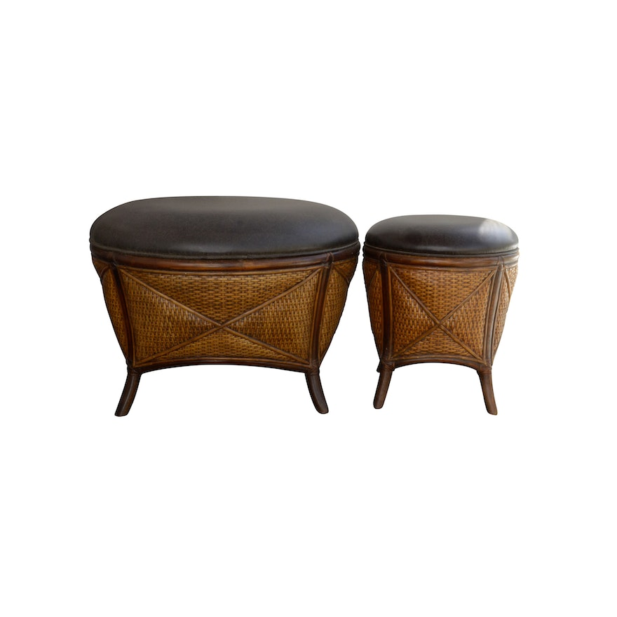 Brilliant Two Rattan Ottomans By Pier 1 Andrewgaddart Wooden Chair Designs For Living Room Andrewgaddartcom