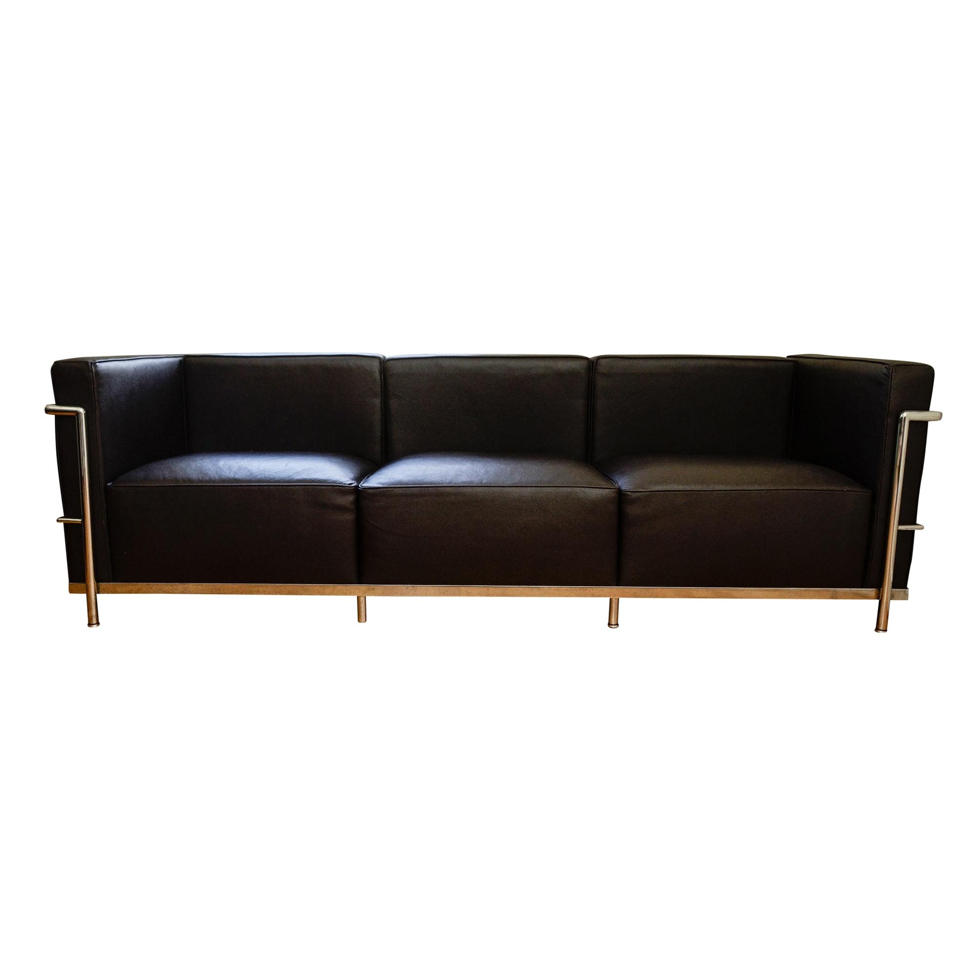 Le Corbusier LC3 Style Dark Leatherette Sofa