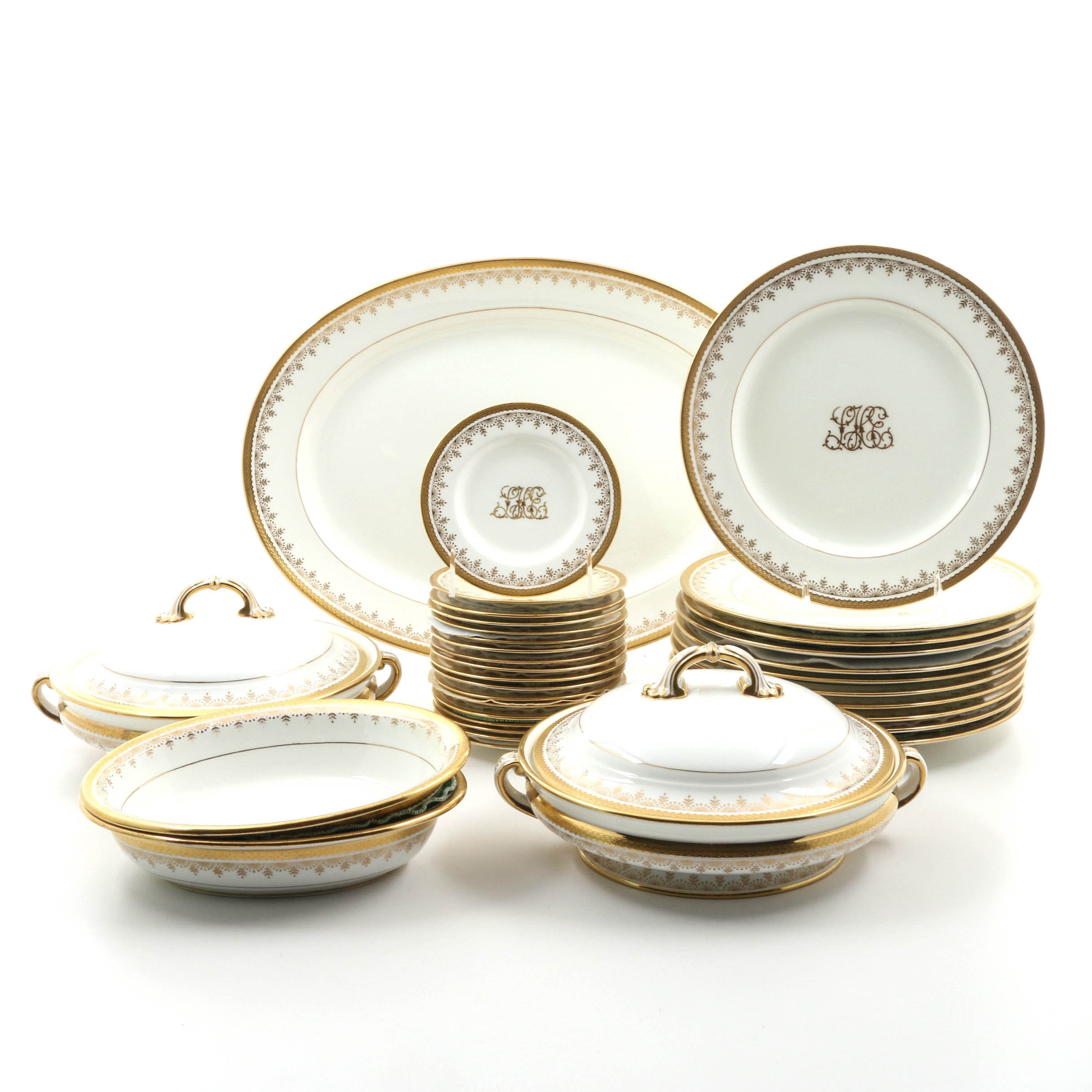 Vintage Minton Gold and White Dinnerware with Monogram ...  sc 1 st  EBTH.com & Vintage Minton Gold and White Dinnerware with Monogram : EBTH
