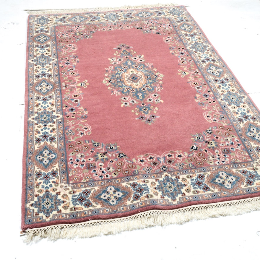 Hand Knotted Indo Persian Obeetee Wool Area Rug Ebth: 4' X 7' Vintage Fine Hand-Knotted Indo-Persian Kerman Rug