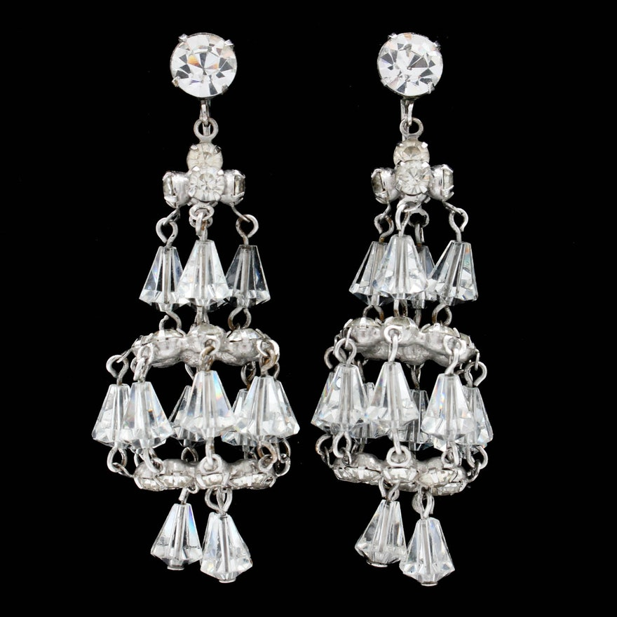 Hattie Carnegie Costume Chandelier Earrings