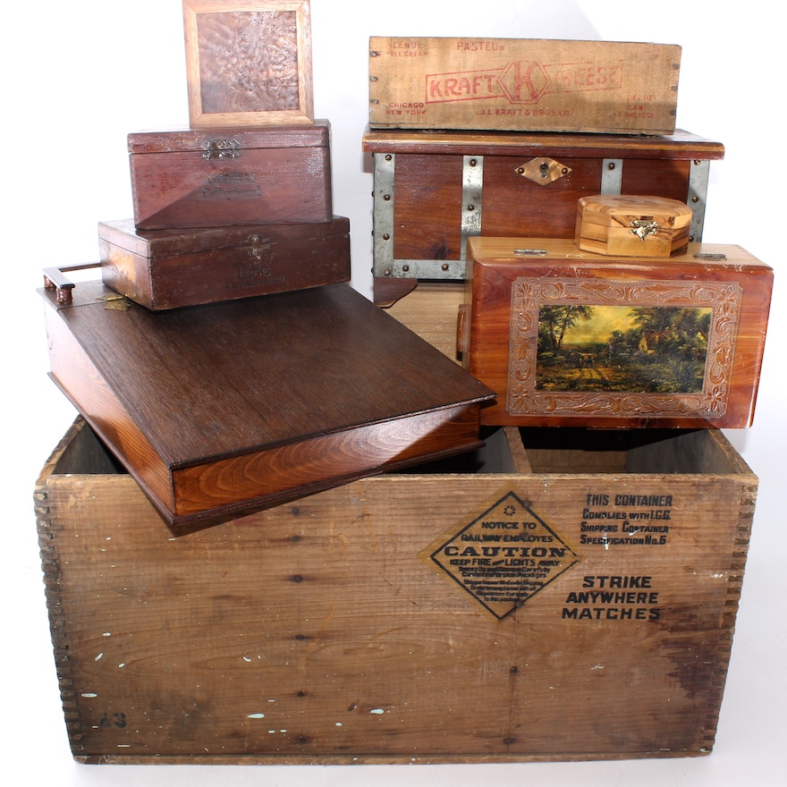 Vintage Wooden Crates And Boxes
